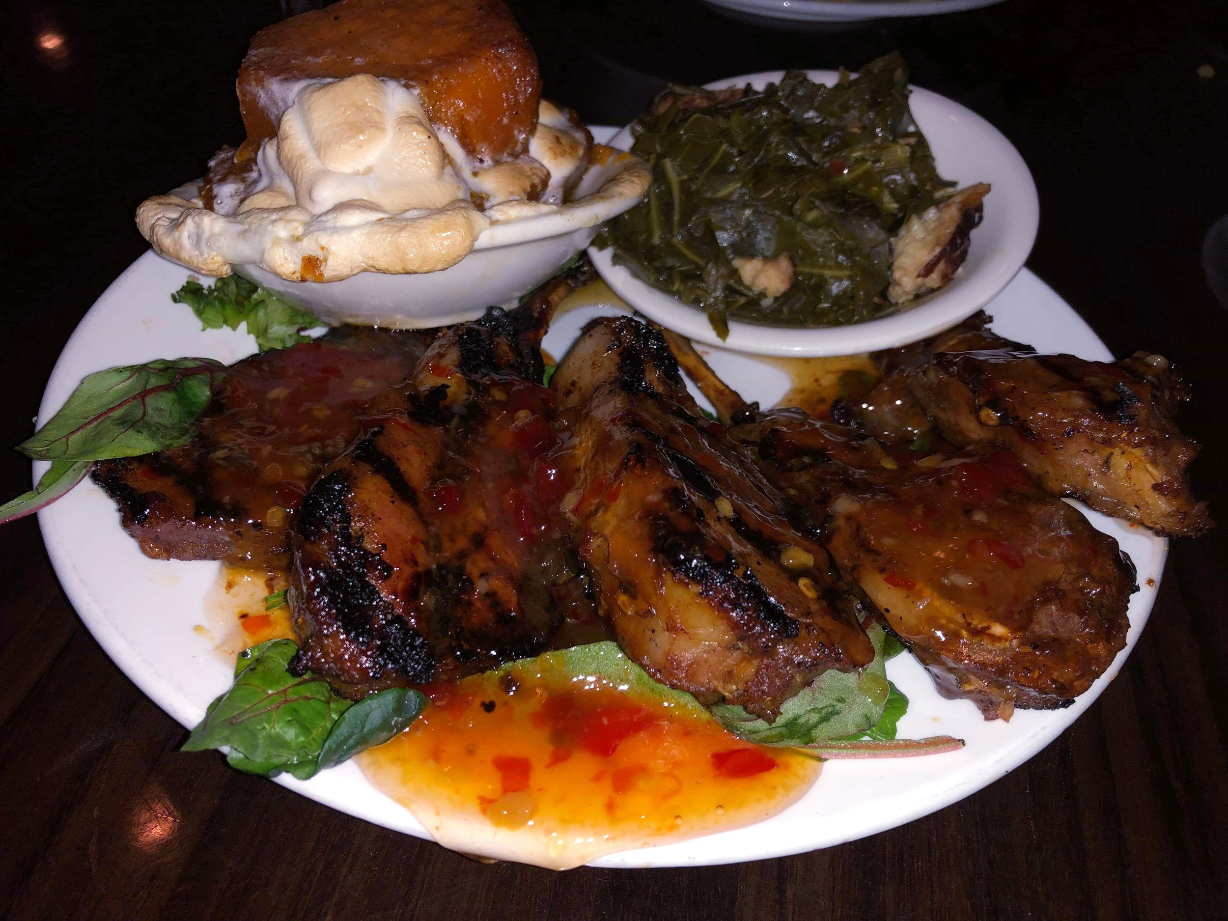 I couldn't leave Philly without stopping at the world famous Ms. Tootsies Soul Food Café located on the historic South street. The wait time was about 30 minutes, which was not bad for a Saturday night. The food was amazing!! Pictured is the Lollipop Lamb Chops with Sweet Chili Sauce. The sides are the southern collard greens with smoked turkey and candied yams with melted marshmallow topping, $32.00