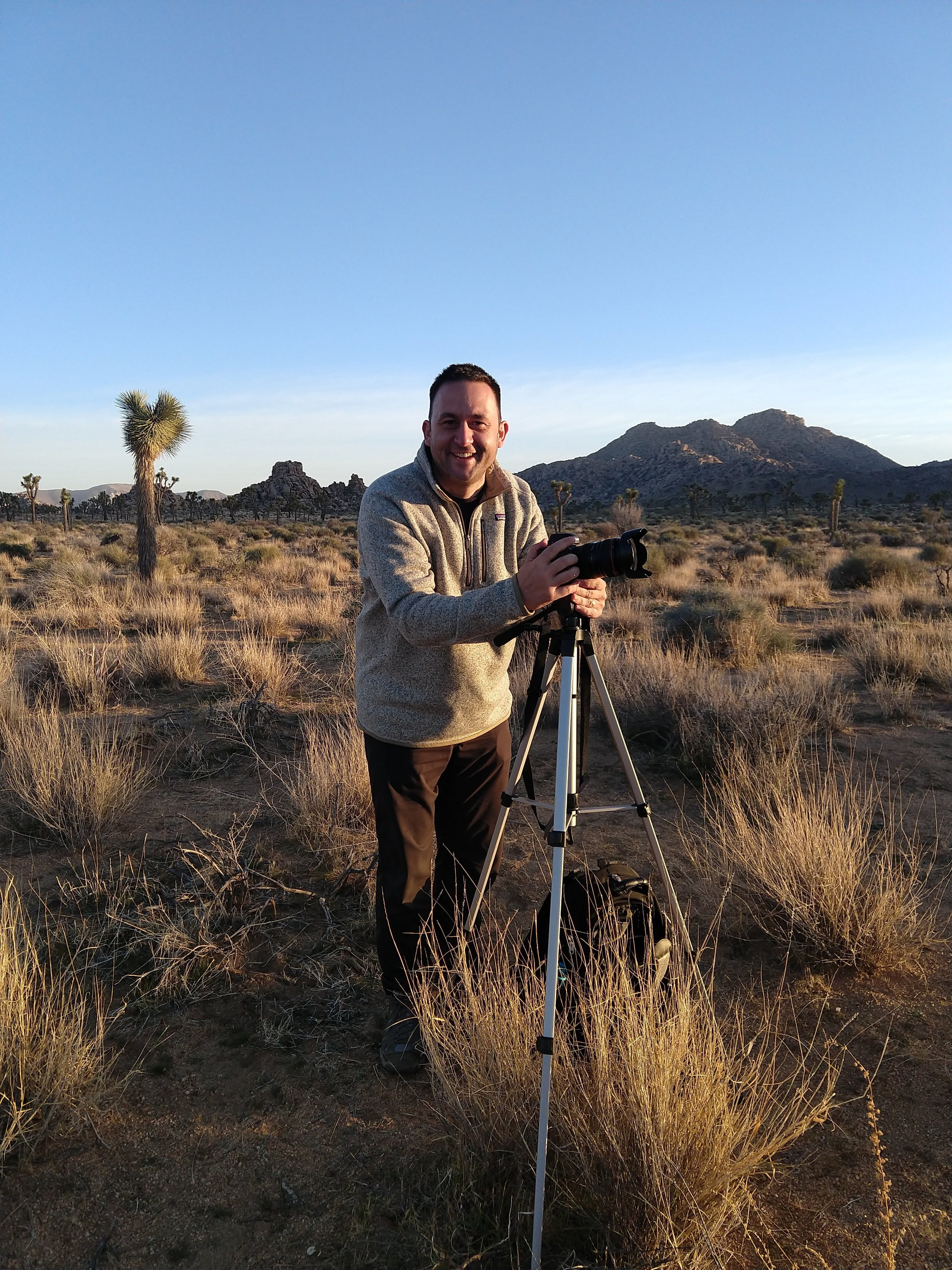 Roger setting up for a sunset photo @  Joshua Tree National Park