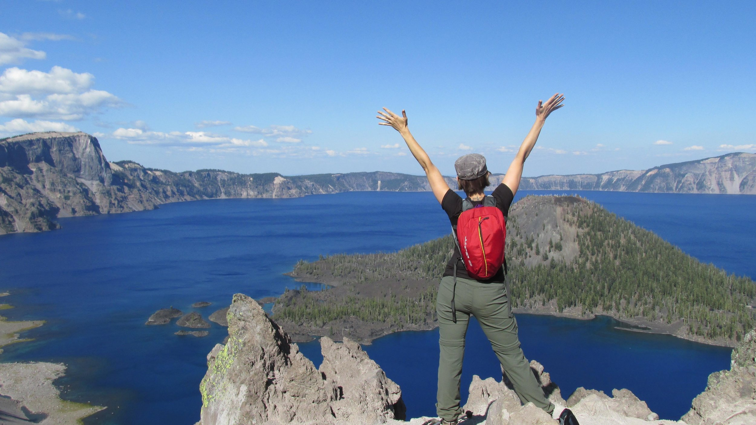 Crater Lake, Oregon  looking at Wizard Island. We backpacked around the lake that summer, beautiful!  @roger.cummings