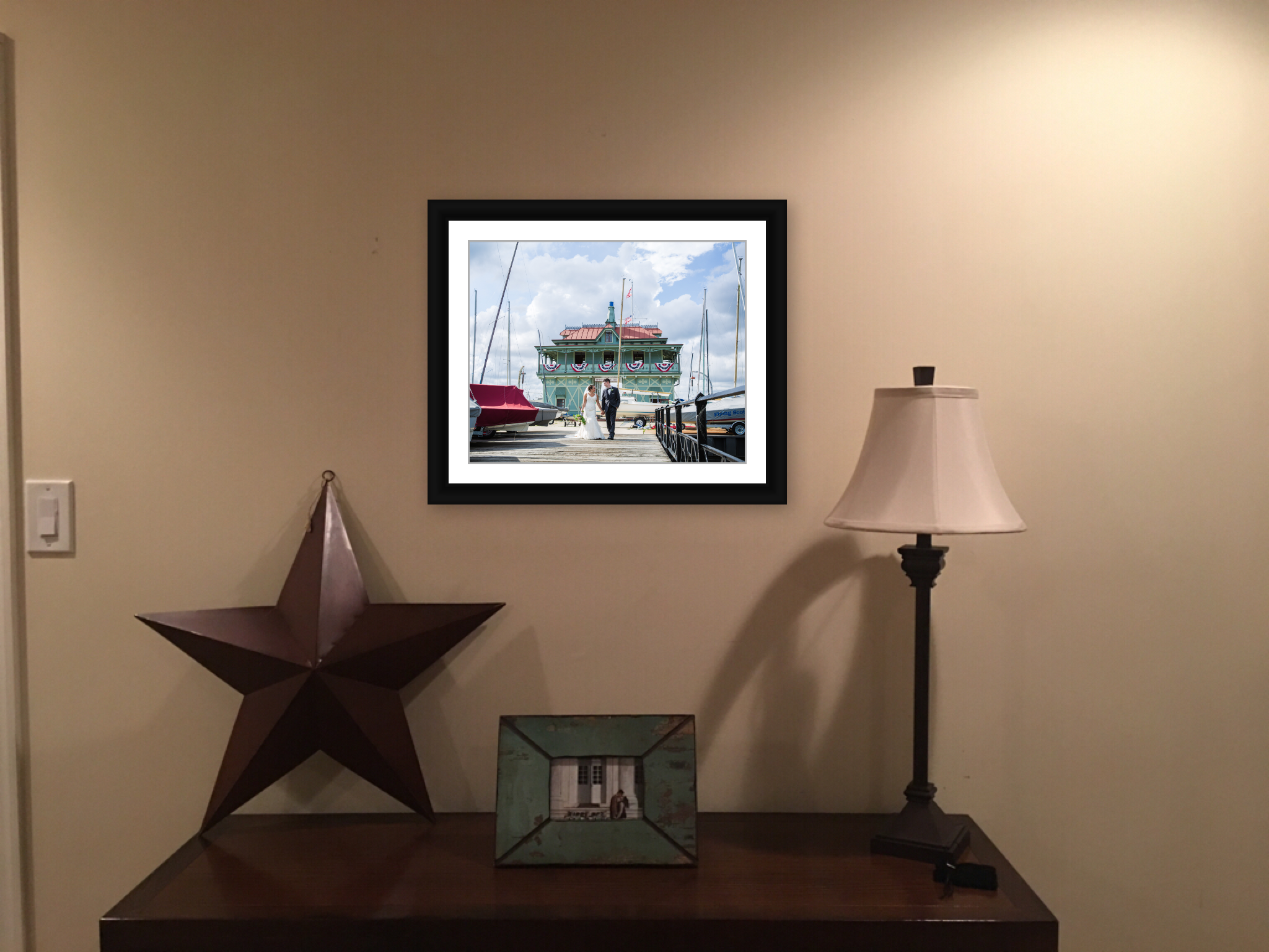 custom framed wedding photo added into a family room for them to see every single day