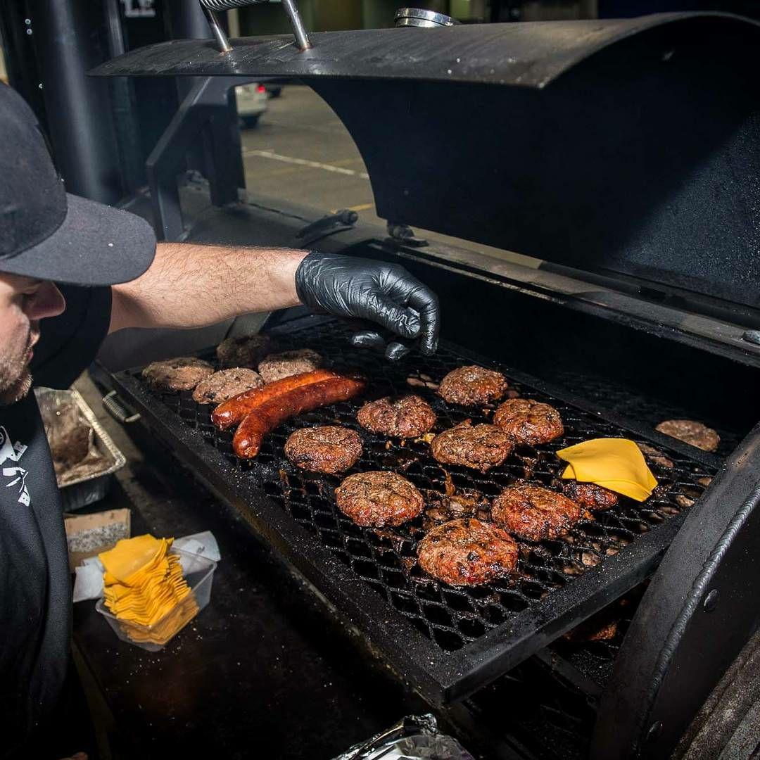 Head Chef  JR Boukarim  in his zone working The Hardstyle Kitchen smoker