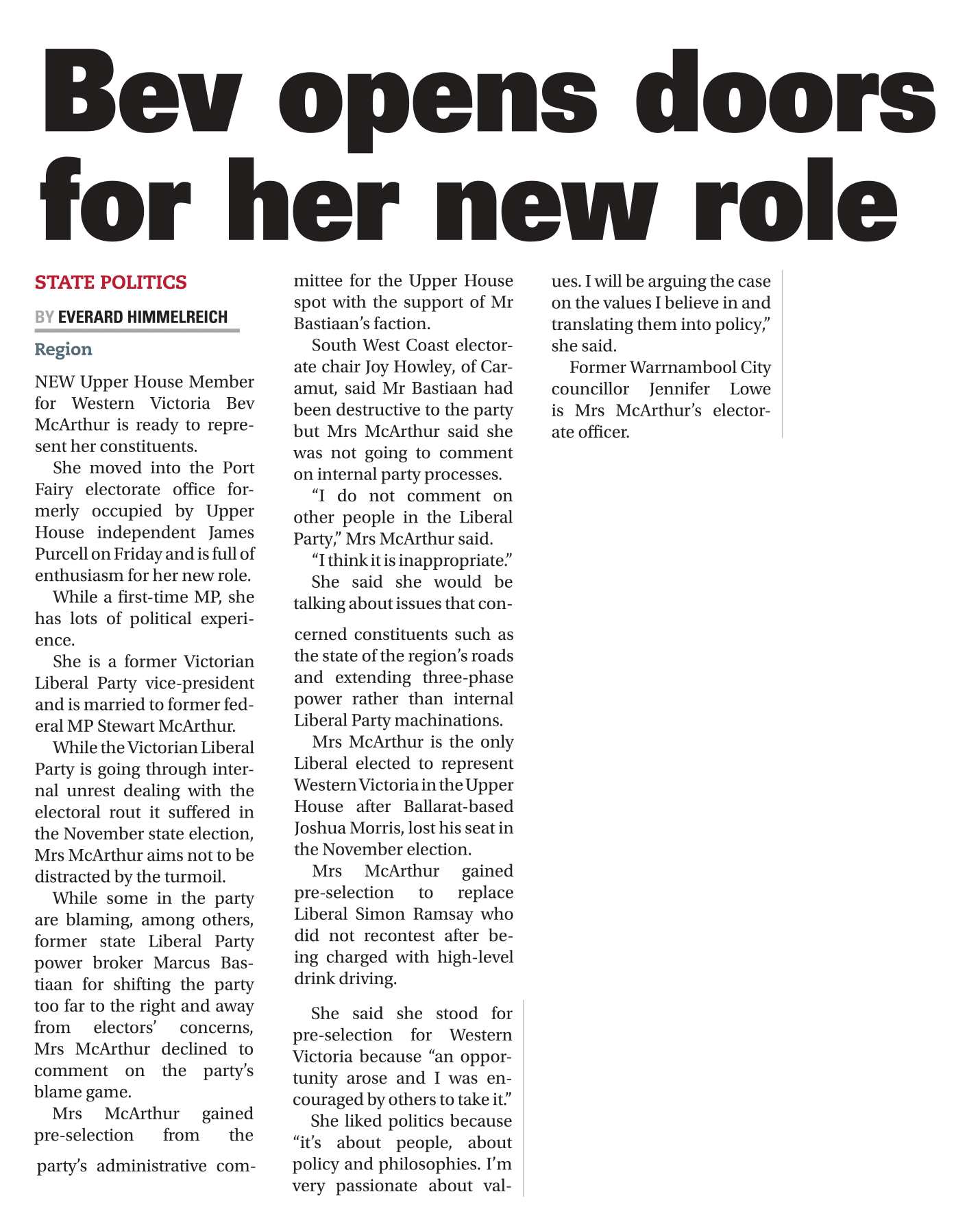 1056263071 Bev opens doors for her new role 26 Dec 2018 Warrnambool Standard-1.png
