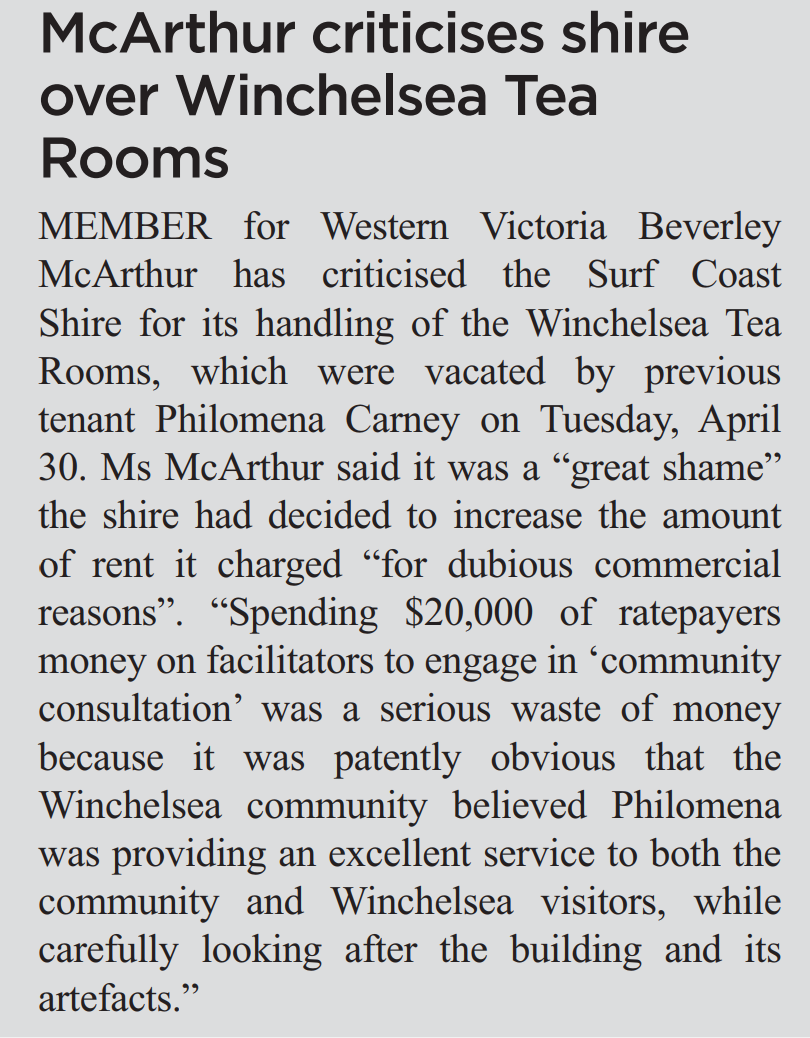 McArthur criticises shire over Winchelsea Tea Rooms.png