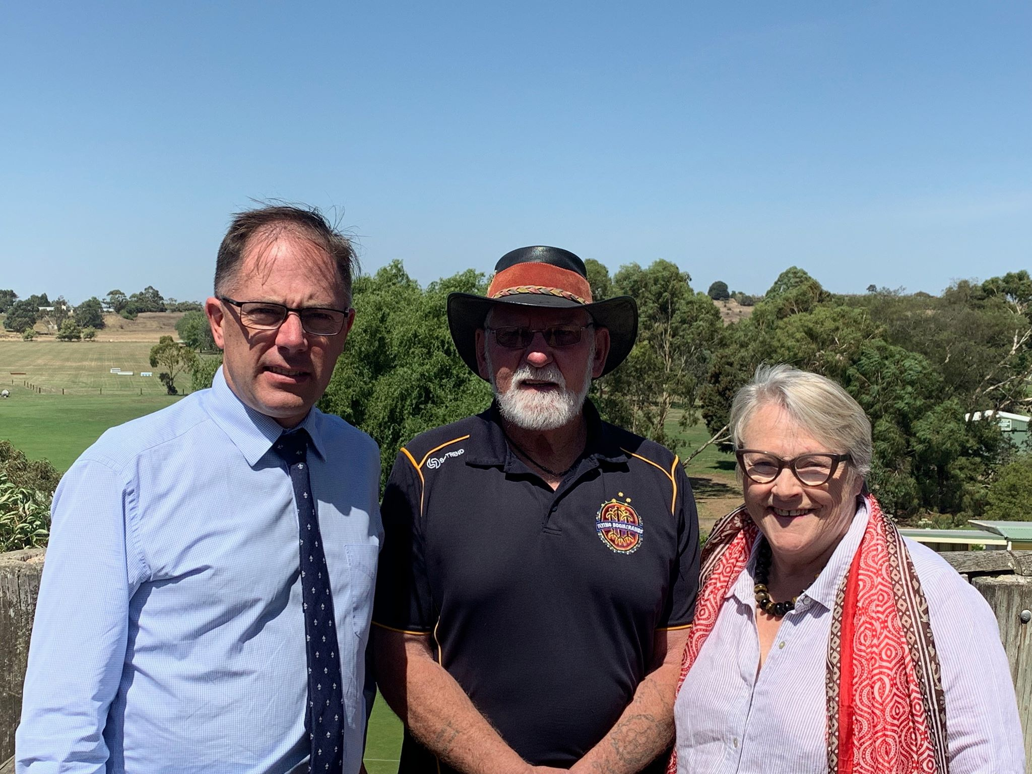 Richard Riordan MP, Member for Polwarth and I with Robert Lowe, Peek Whurrong elder in Terang, who was helping to advise us on indigenous history and cultural issues across our electorates.
