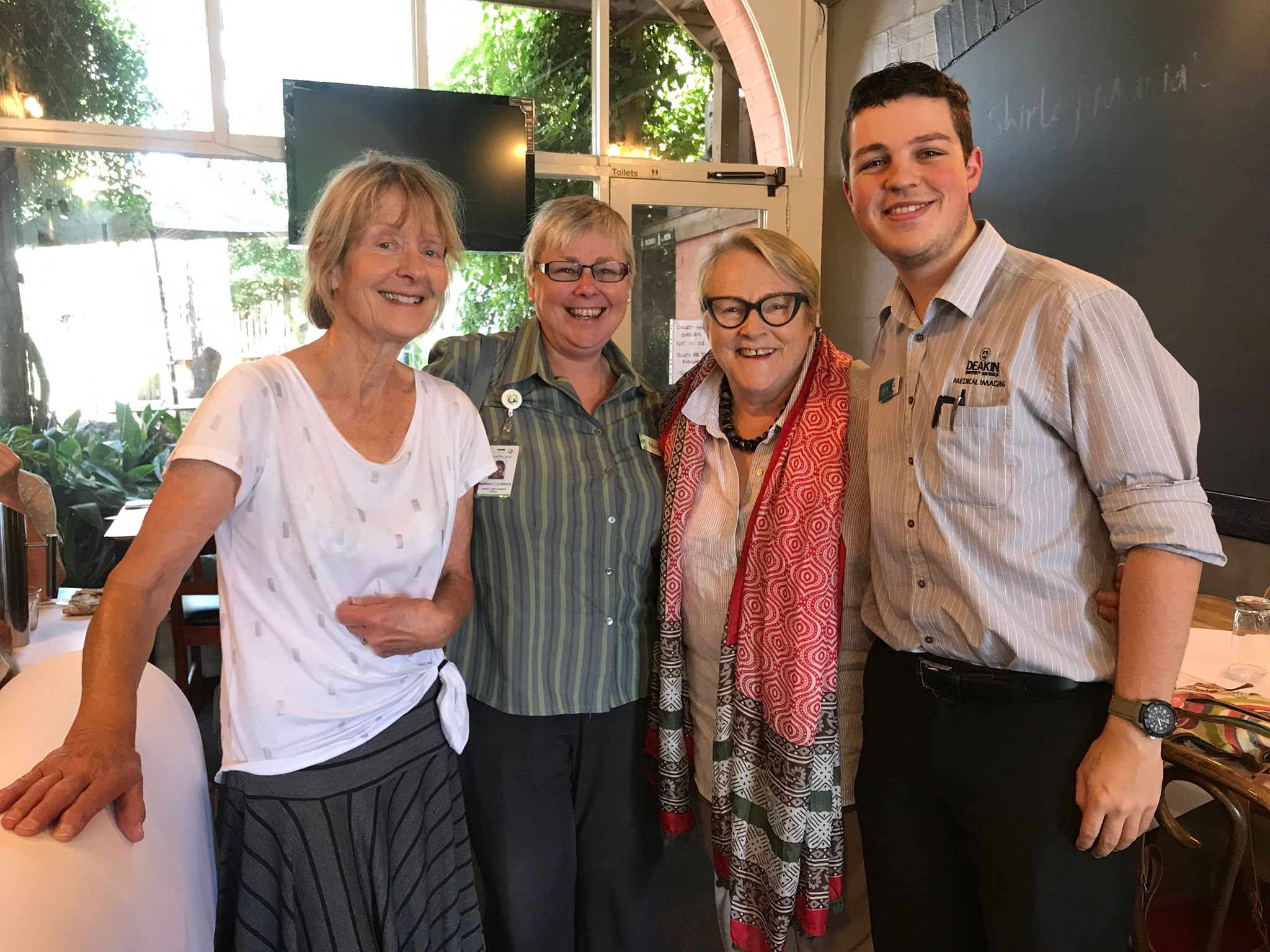 At the Delgados Coffee Bar with Diana Shelton who provides exceptional radiography service at the Camperdown Hospital, Luke Fisher, a second year Deakin medical imaging student who was Diana's very appreciative protégé and Margaret Clissold, the ever helpful and supportive 'front of house' staff member at the hospital.