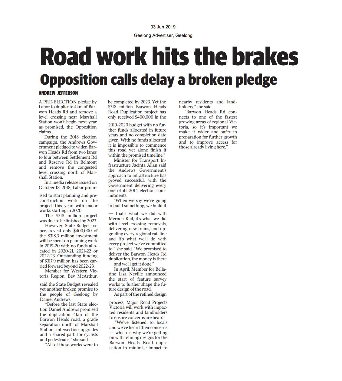 03062019 Road work hits the brakes - Geelong Advertiser.png