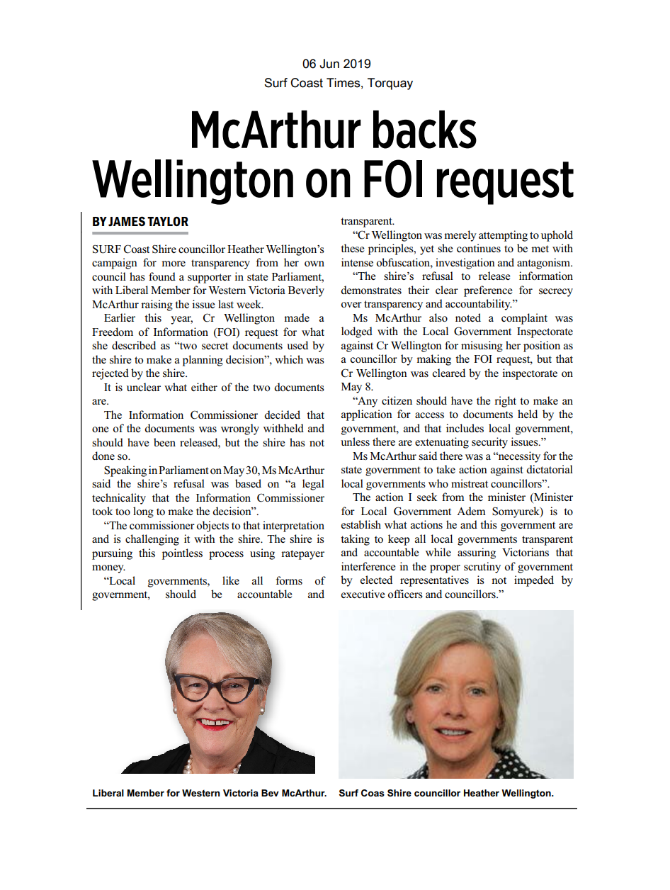 06062019 McArthur backs Wellington on FOI request - Surf Coast Times.png
