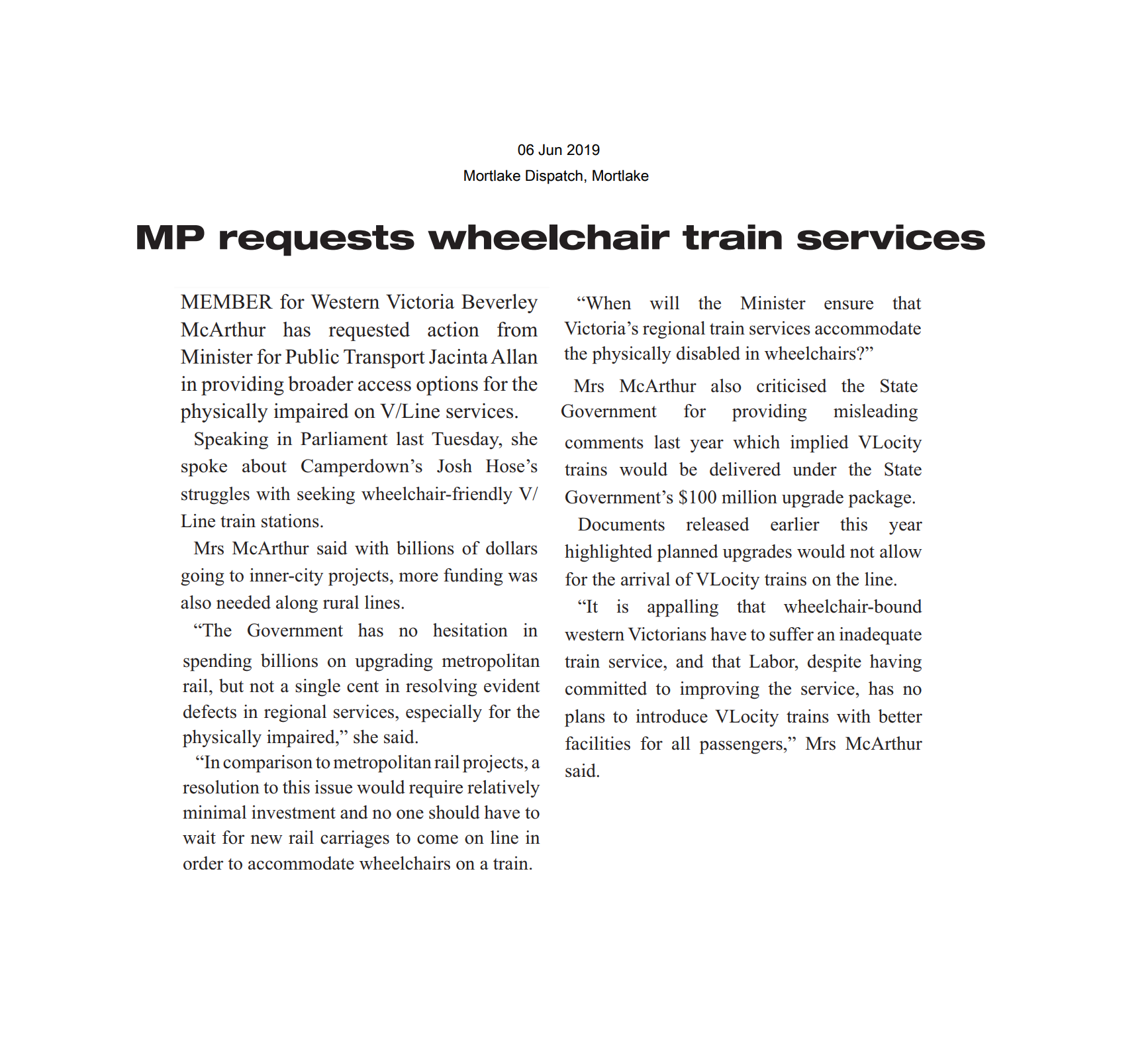 06062019 MP requests wheelchair train services.png