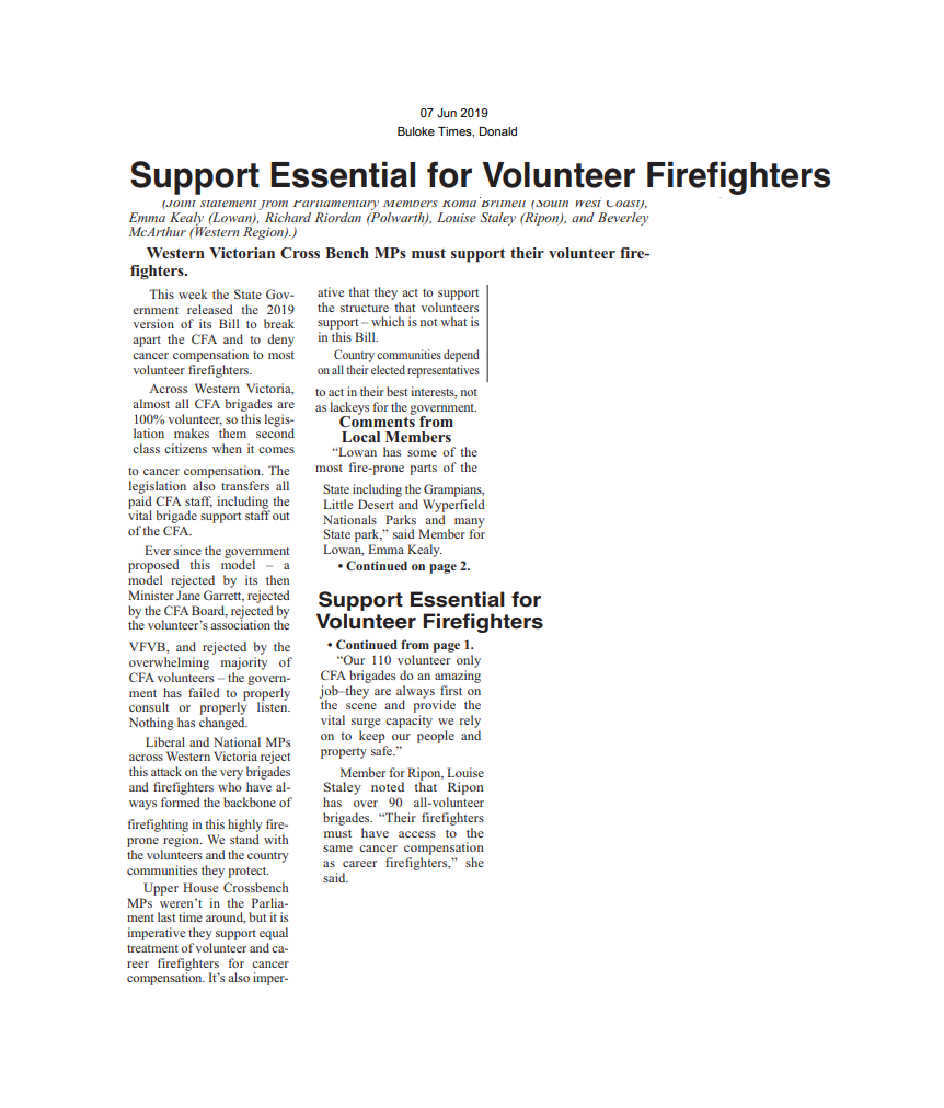 07062019 Support Essential for Volunteer Firefightetrs - Buloke Times.png