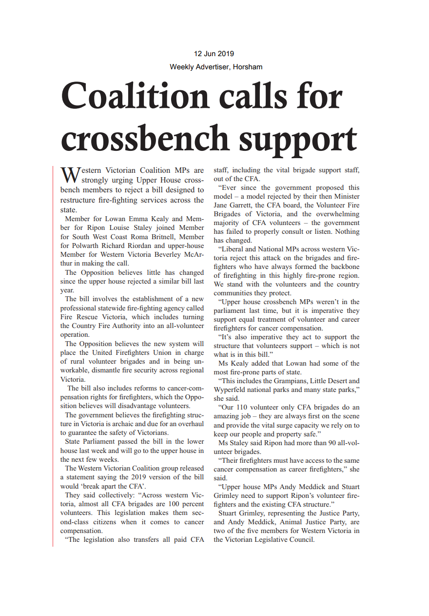 12062019 Coalition calls for crossbench support - Weekly Advertiser.png