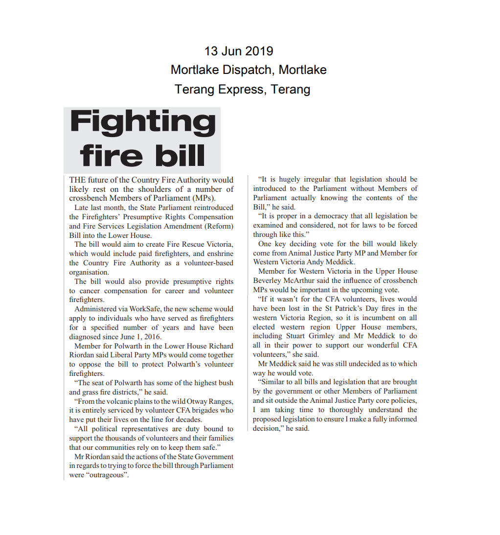 13062019 Fighting fire bill - Mortlake Dispatch.png