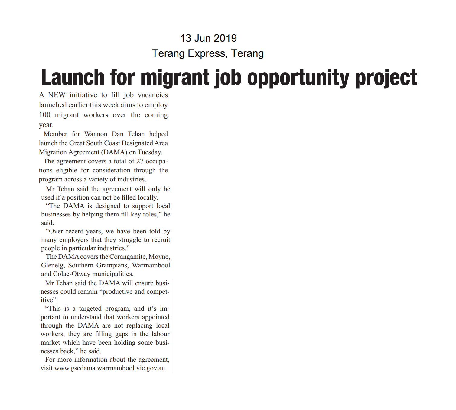 13062019 Launch for migrant job oppurtunity project - Terang Express.png