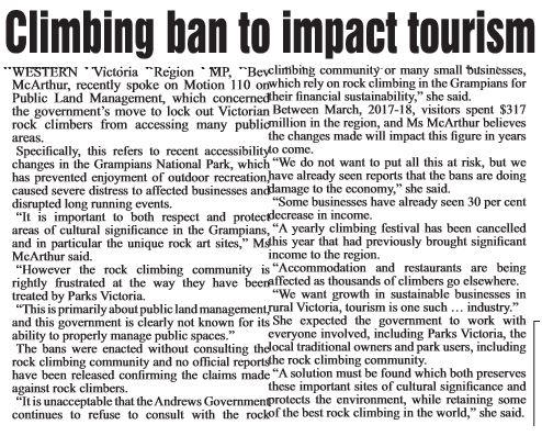 Climbing ban to impact tourism.JPG