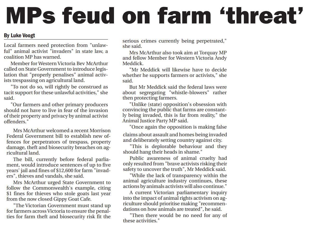Mps feud on farm a threat.png