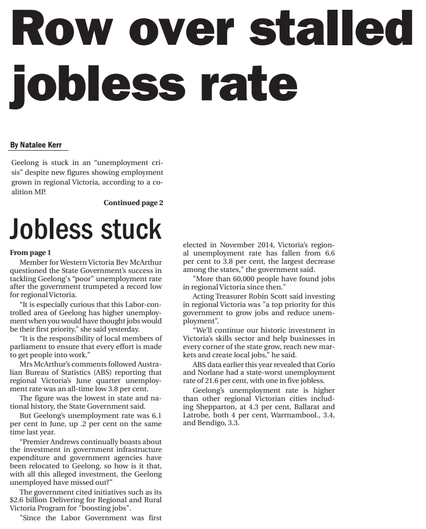 Row over stalled jobless rate.png