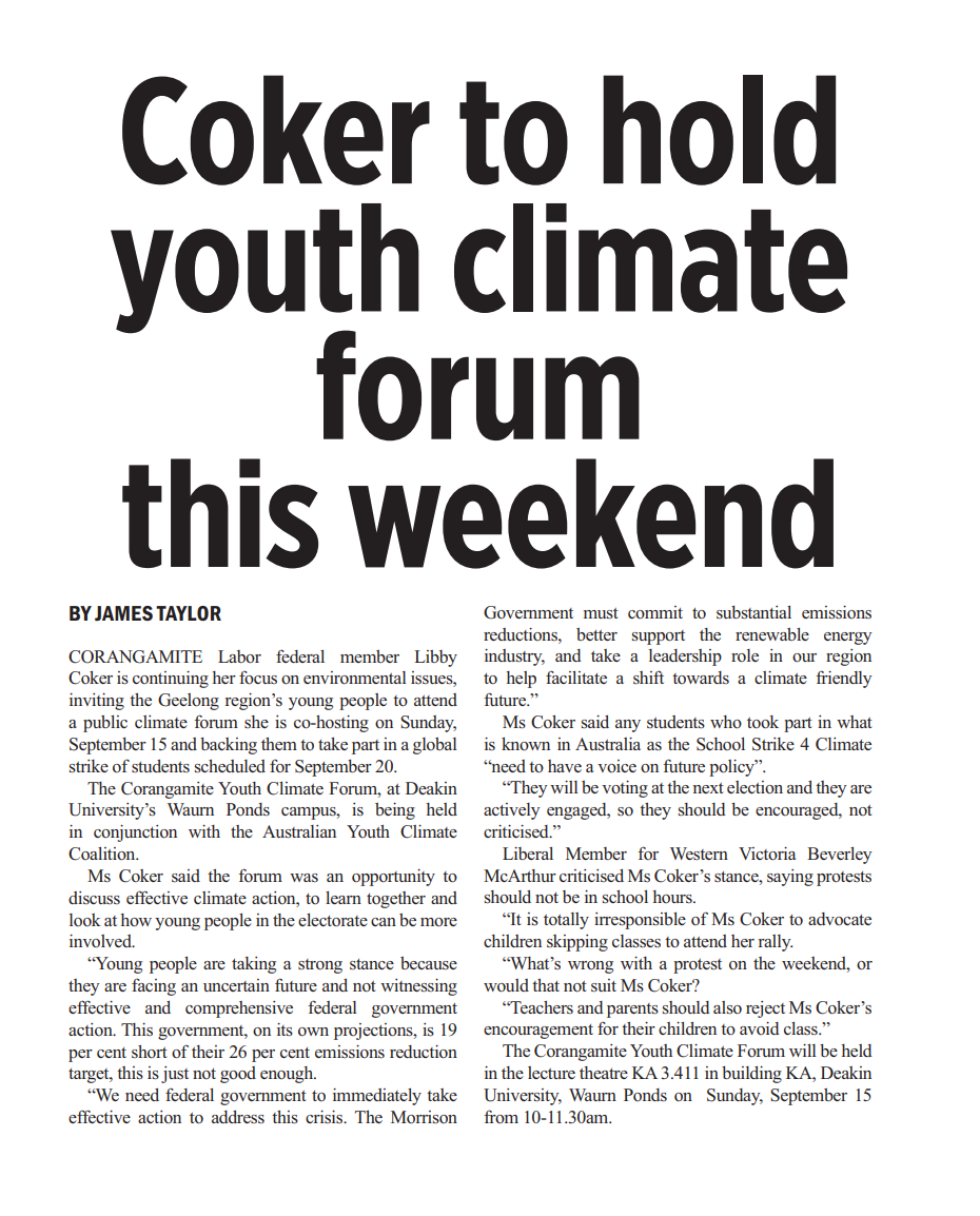 Coker to hold  youth climate forum.png