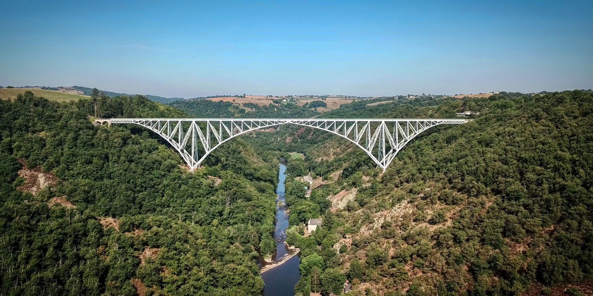 Aerial view of the Viaur Viaduct on a sunny August morning