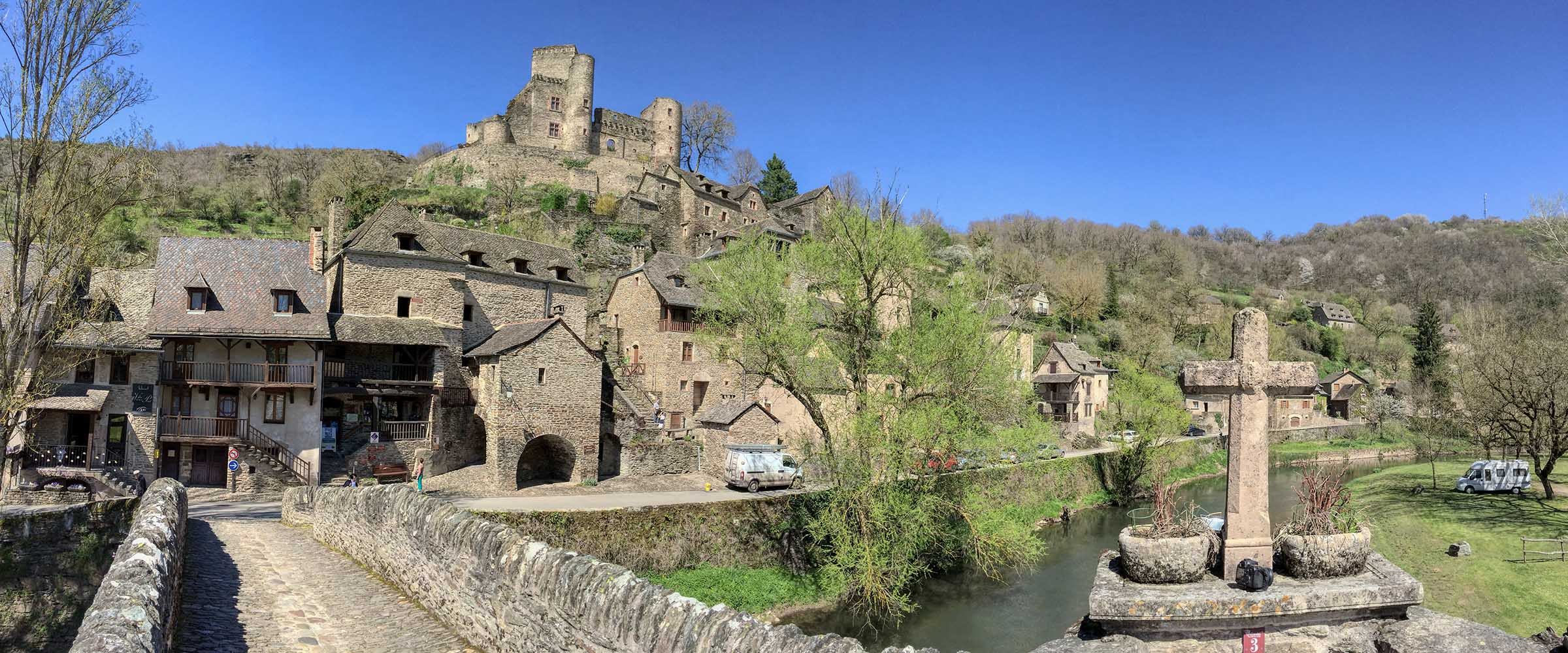 Panoramic view of Belcastel on a spring morning