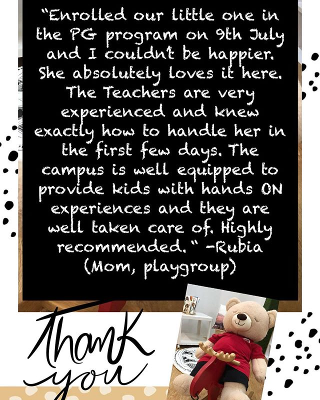 So grateful to our new parents for their kind words. At MapleBear, we look forward to provide a safe and warm environment for our children.  We invite new families to visit www.maplebearwestcoast.org and arrange a visit or call 94779420 to know more. Our registrations for 2020 are open so hurry for promotional rates! #parenting #earlyyears #maplebearwestcoast