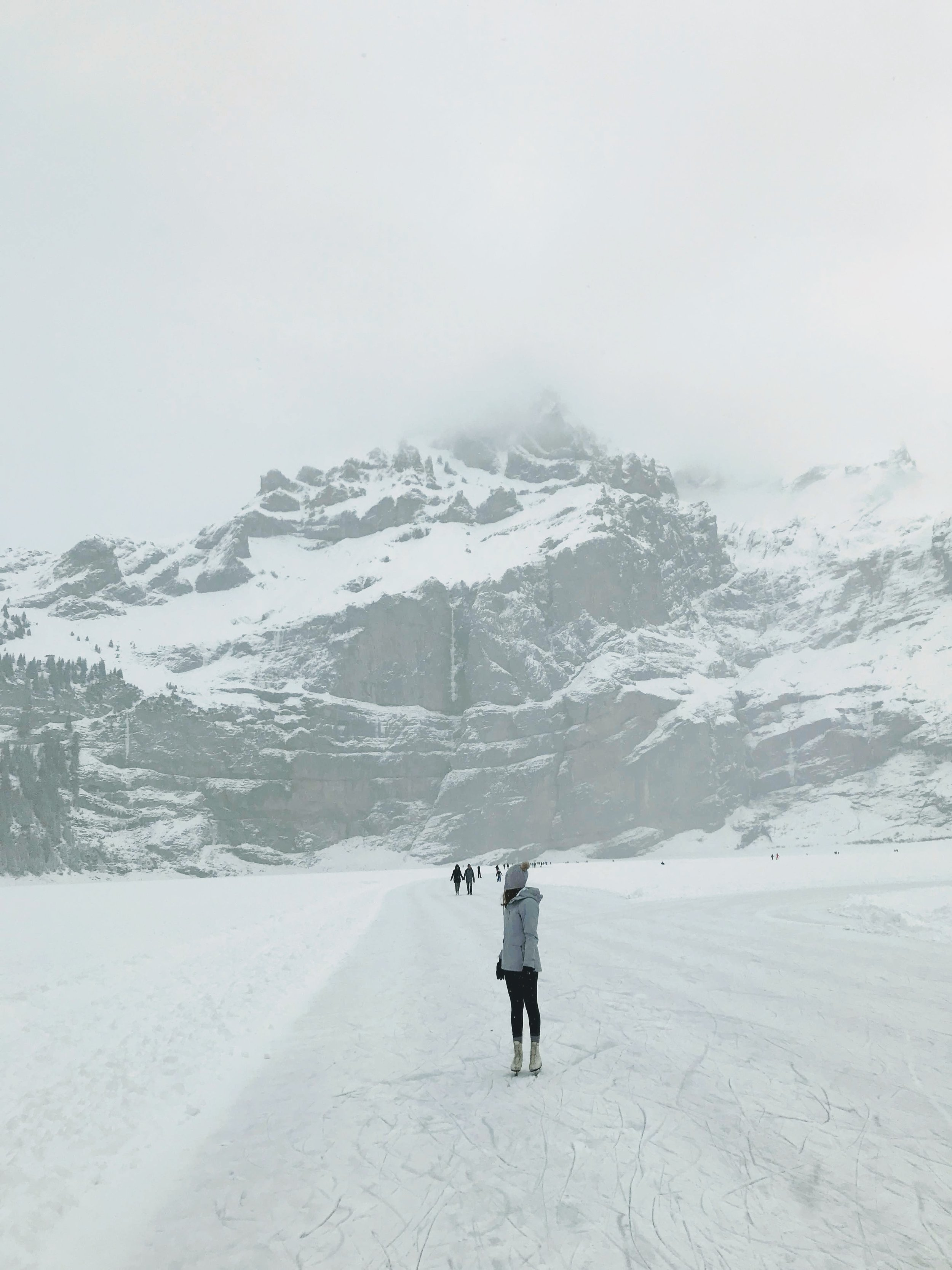 Incredible views on the frozen black ice on Oeschinensee