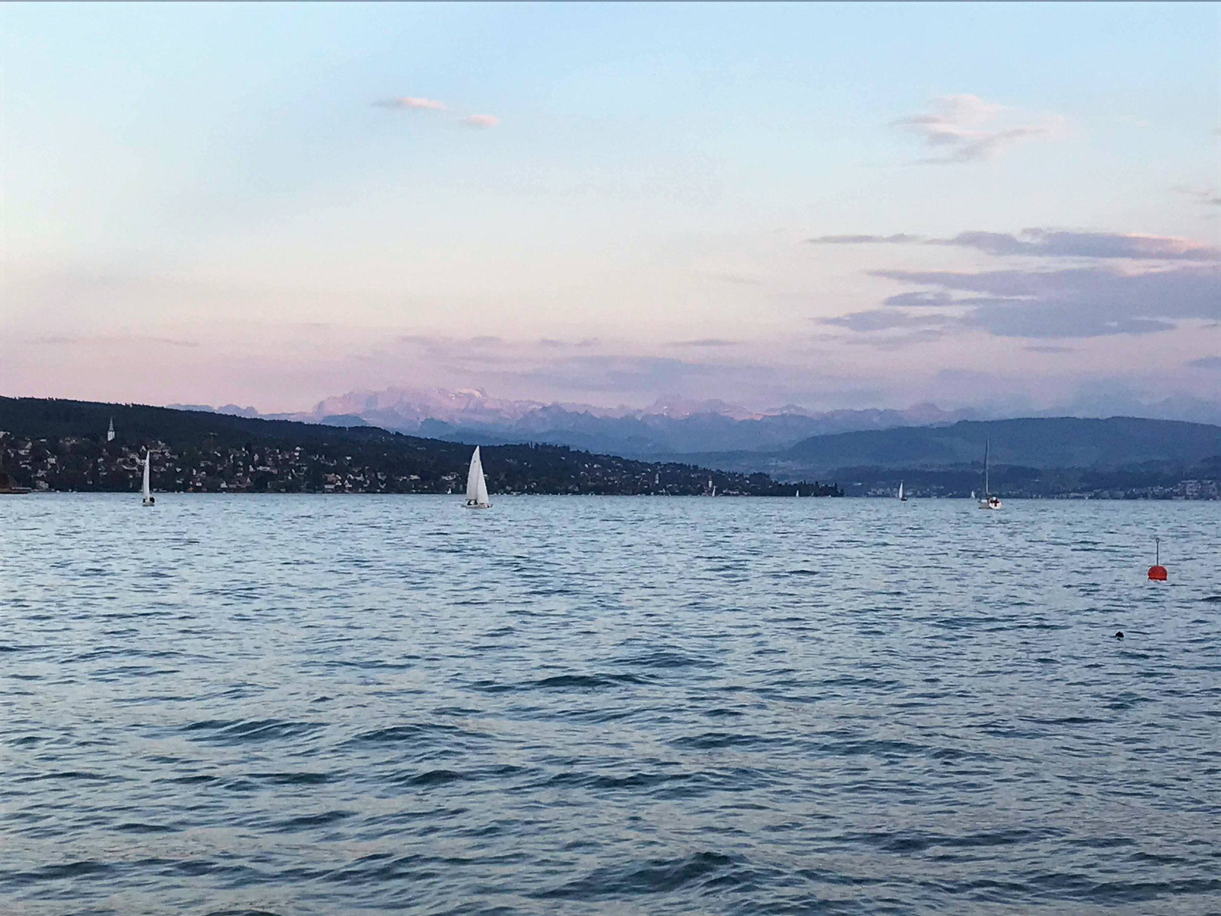 Lake Zurich just after sunset, which I've dubbed the pink hour.