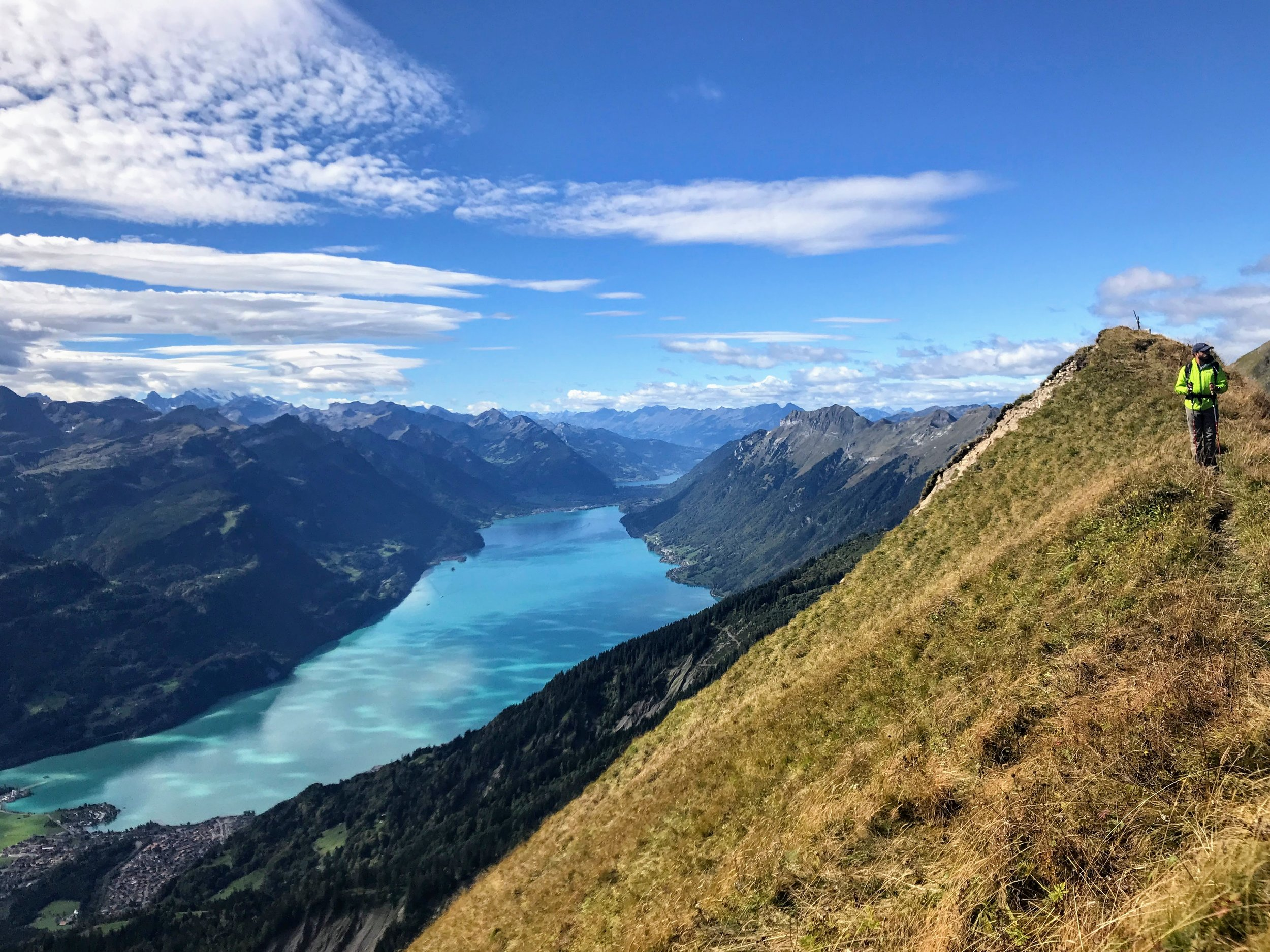 Lake Brienz, with the entire panorama ranging from Mt Säntis in Eastern Switzerland to the Diablerets chain