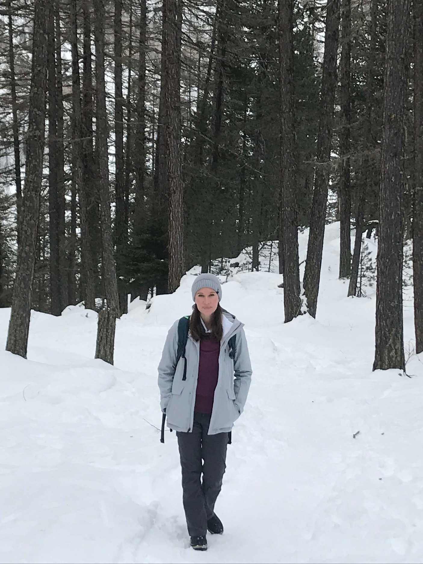 Snowy winter hike up to Sunnega (midway at Tiefenmatten)