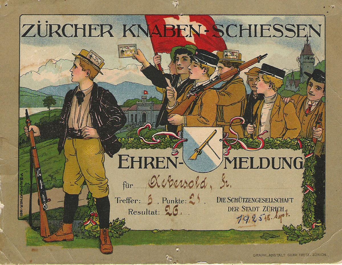 Vintage poster of the traditional Knabenschiessen sharpshooting festival for children in Zurich.jpg