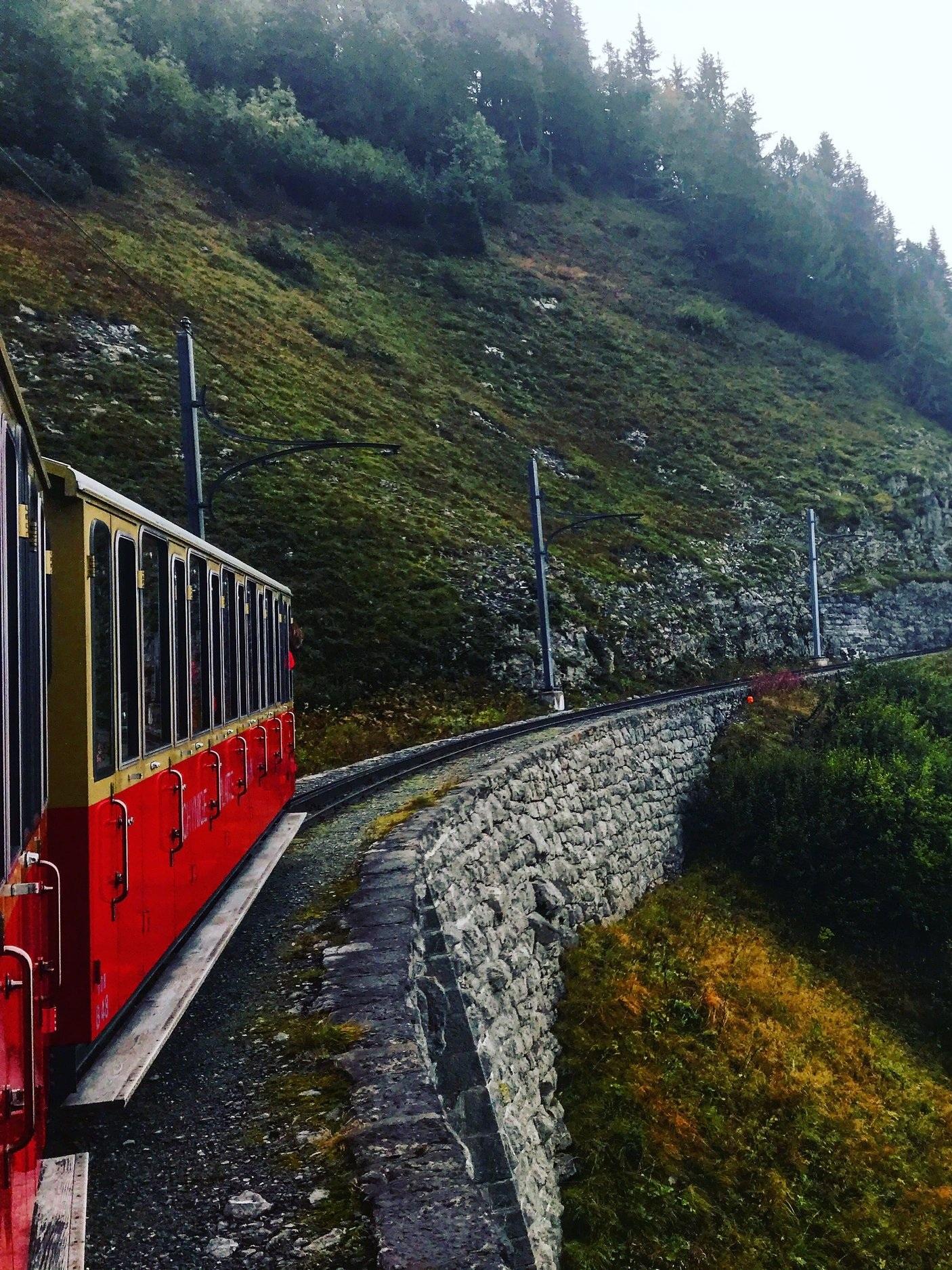 Mountain train up to Schynige Platte in the Jungfrau region
