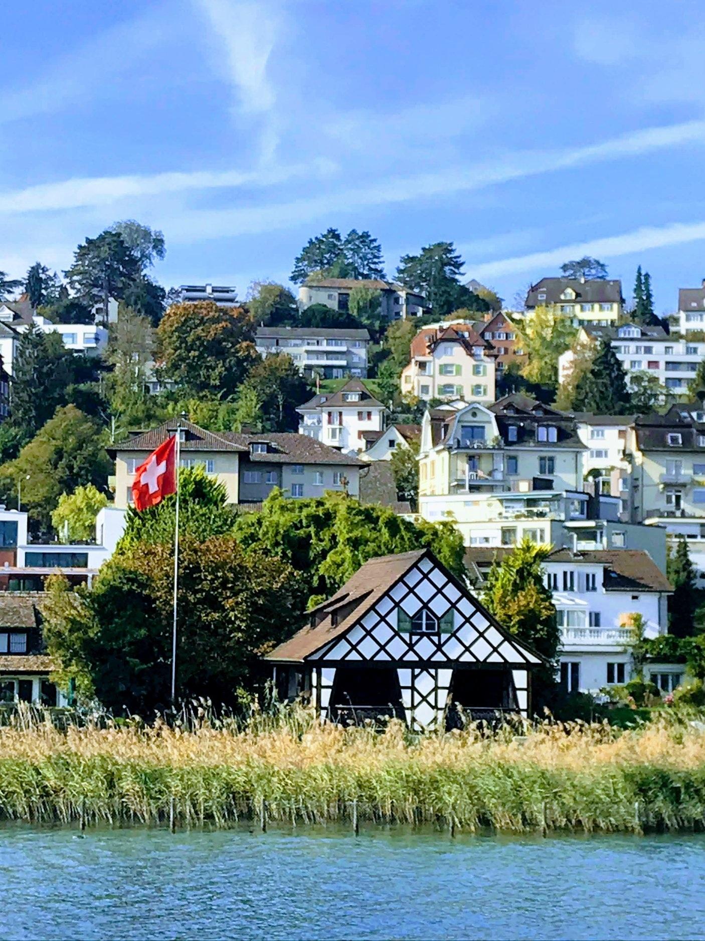 Lakeside houses by Kilchberg in Switzerland