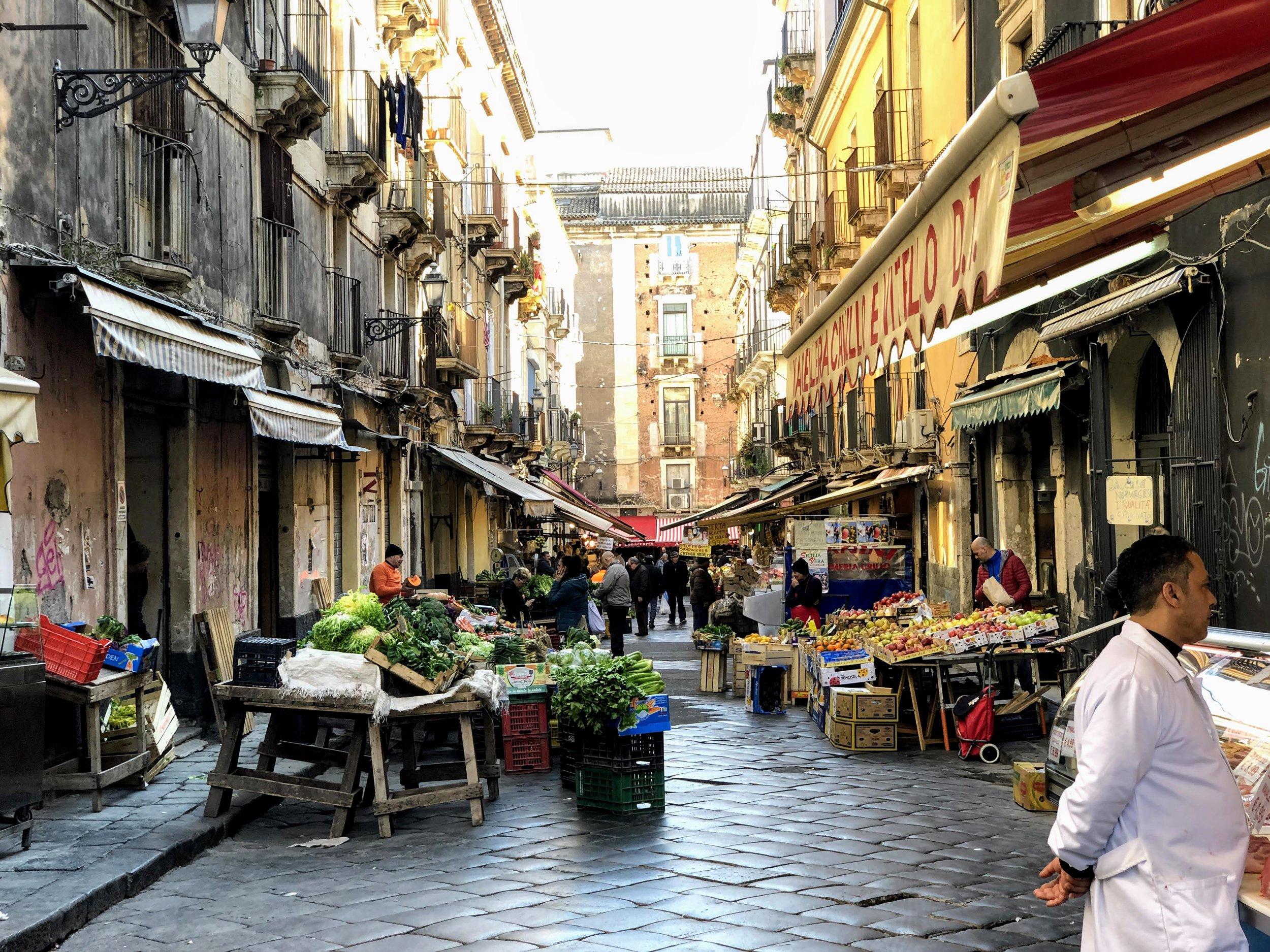 Street markets in Catania, Sicily