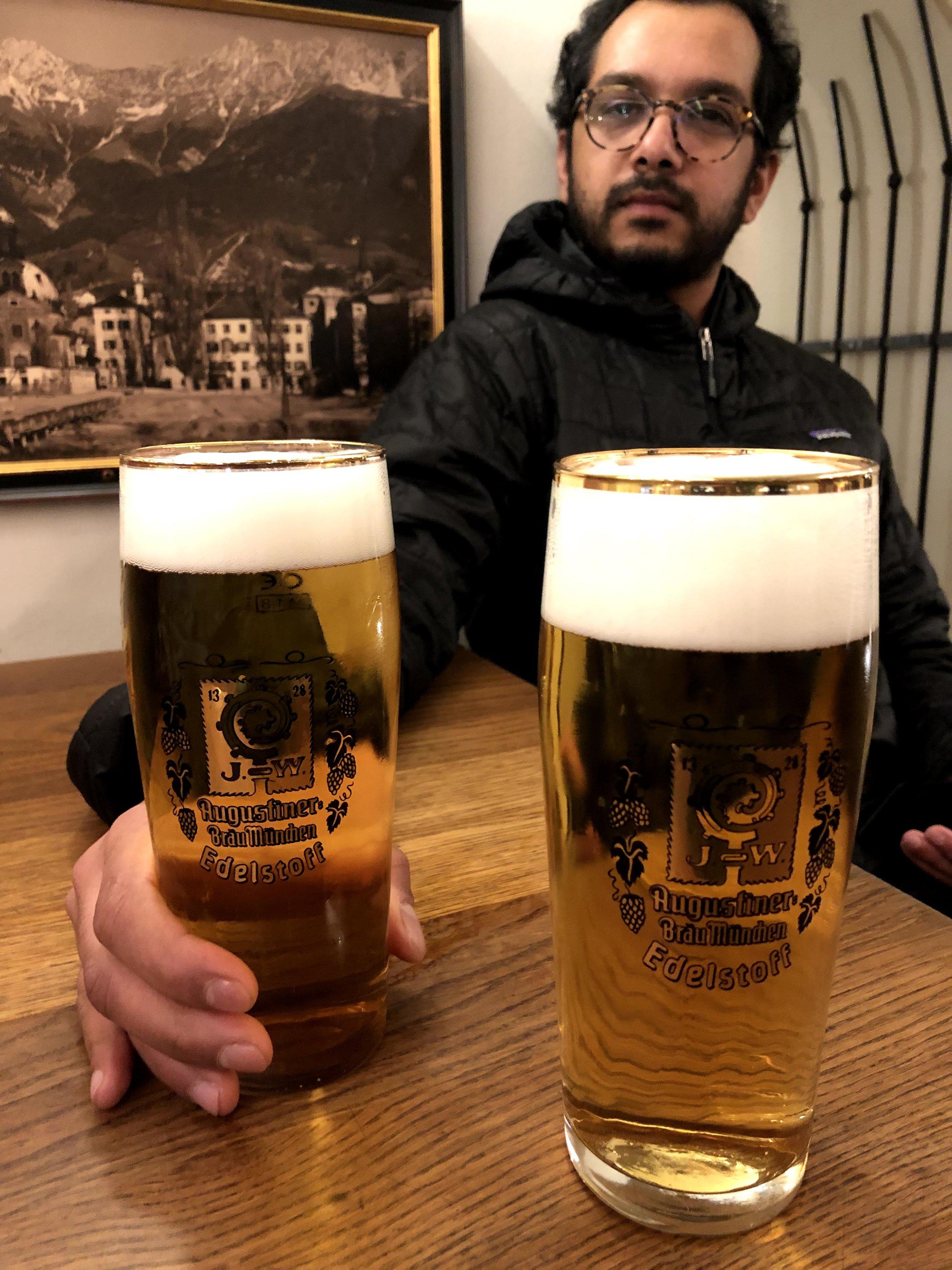 Augustiner beers at Stifskeller in Innsbruck Austria