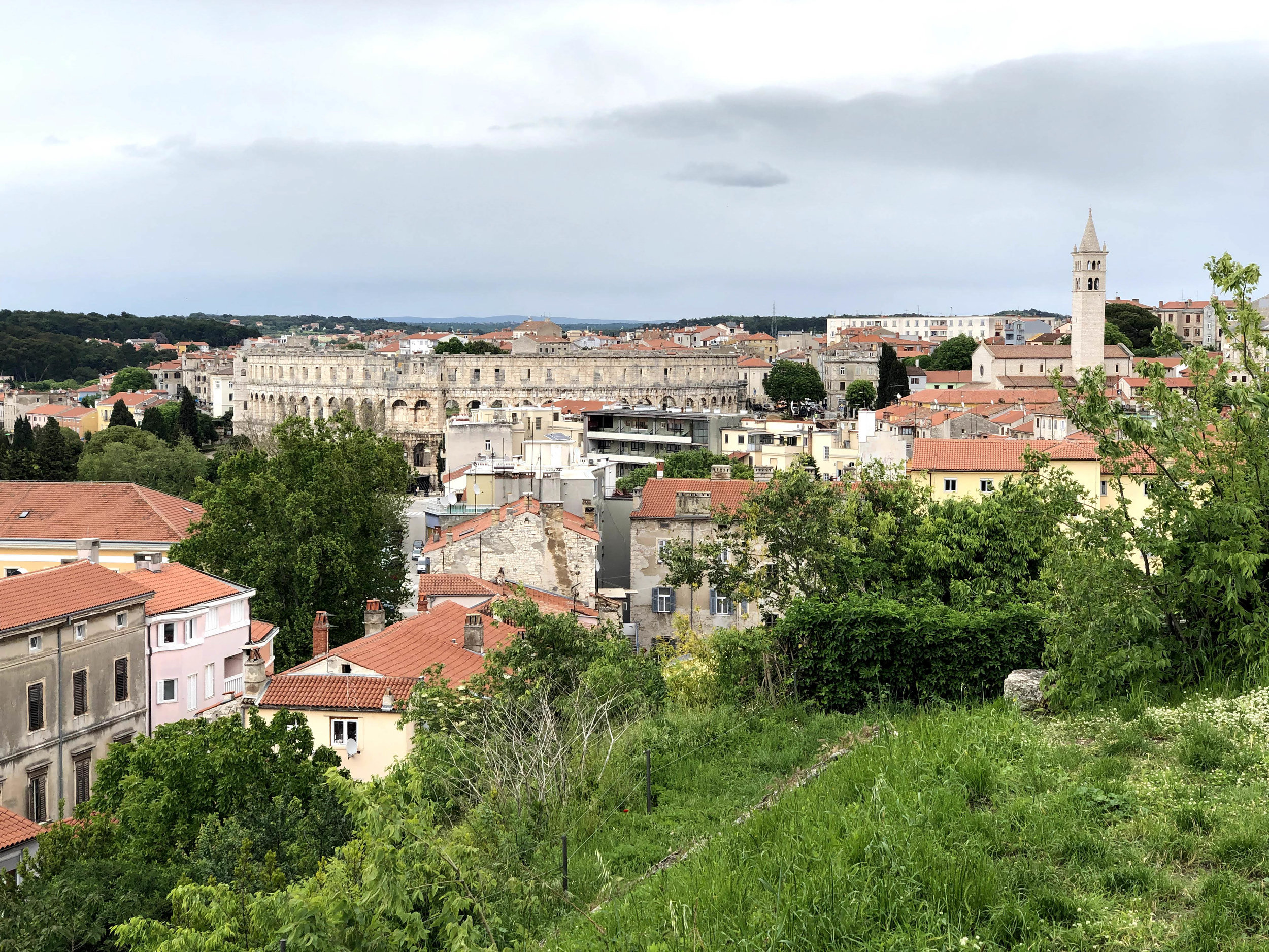 View of Pula Arena from citadel, Istria, Croatia