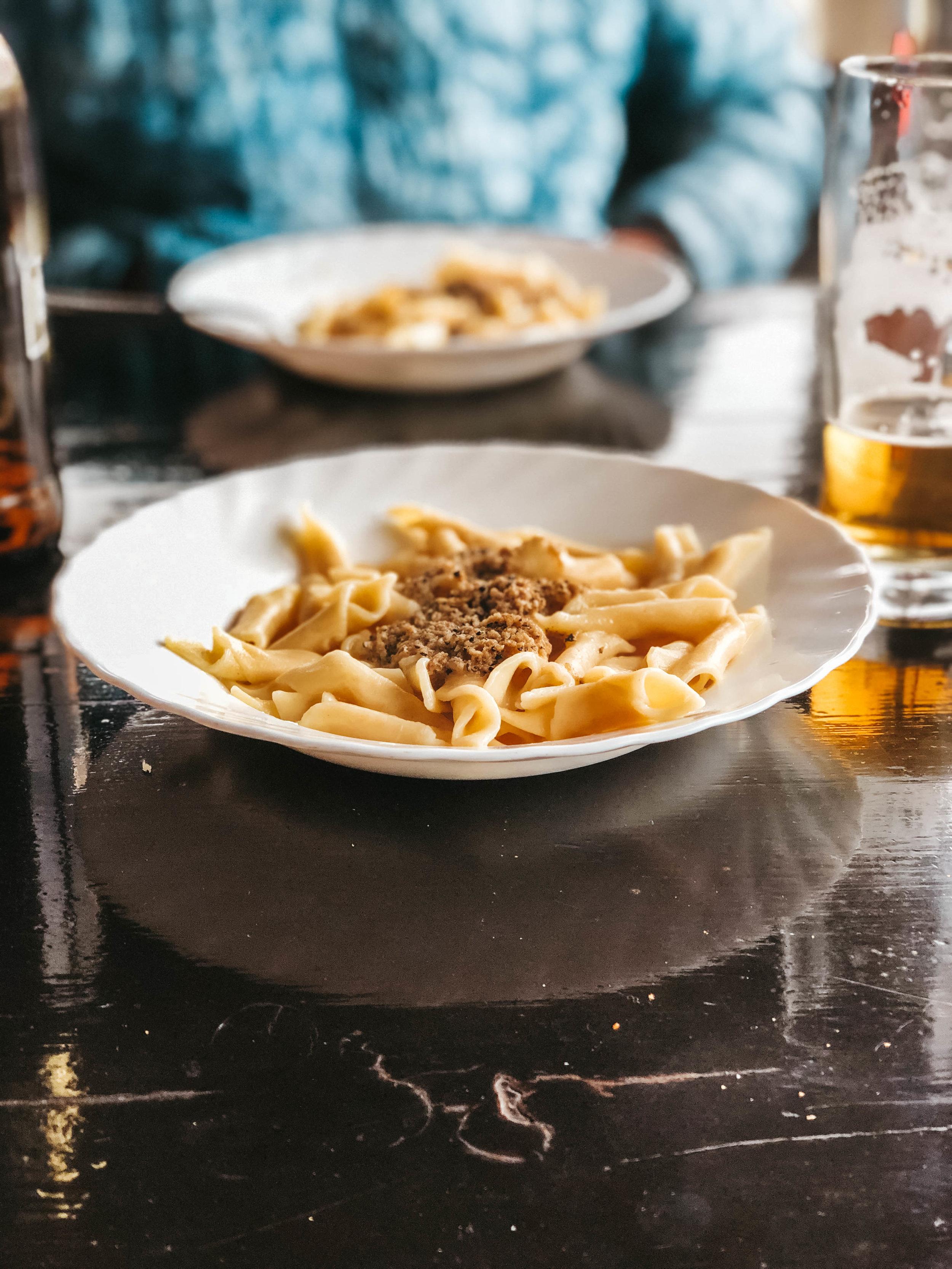 Truffle fuzi pasta in Hum, Istria, Croatia