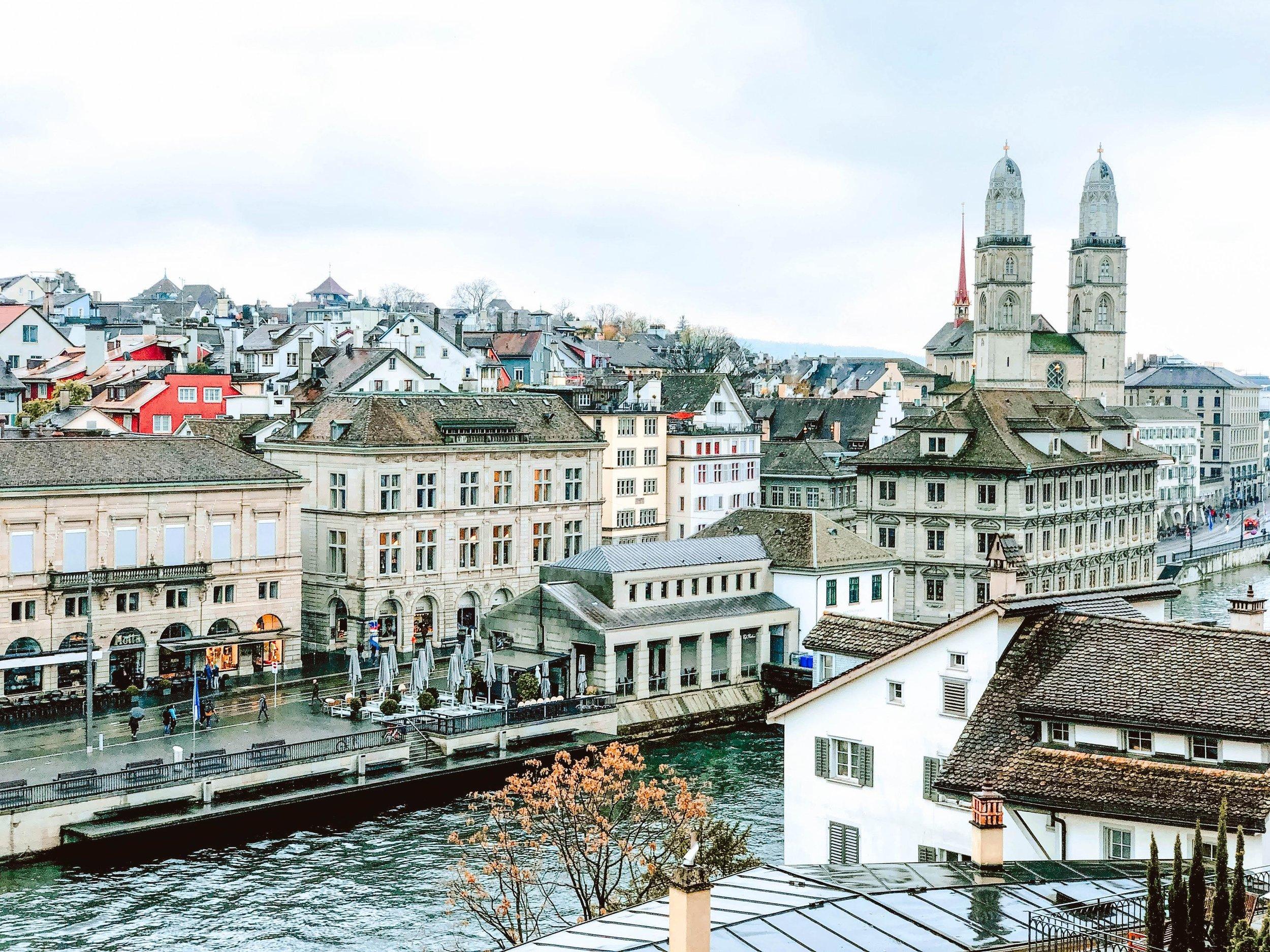 View of Zurich, Switzerland from Lindenhofplatz