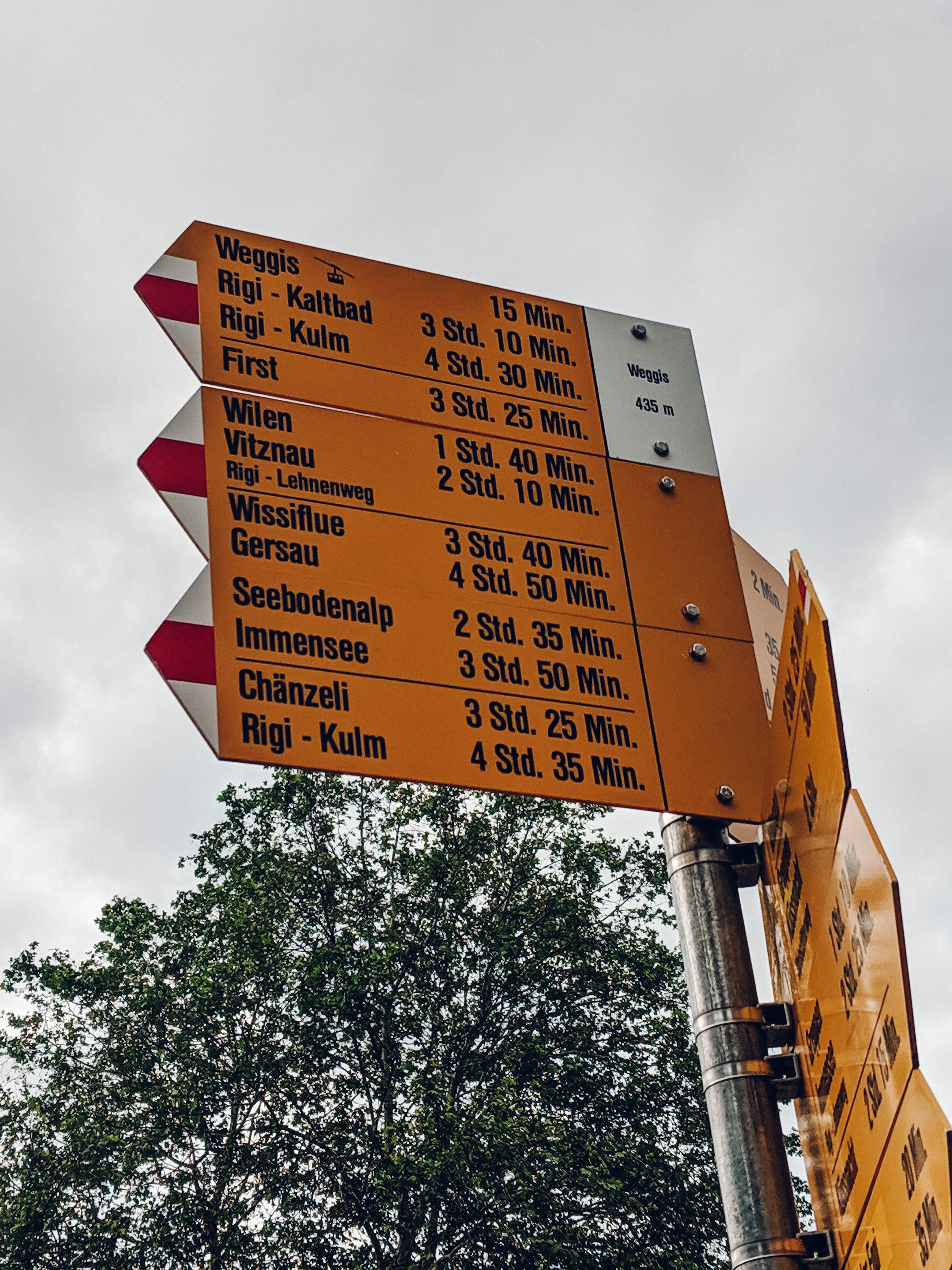 Trail signs in Switzerland