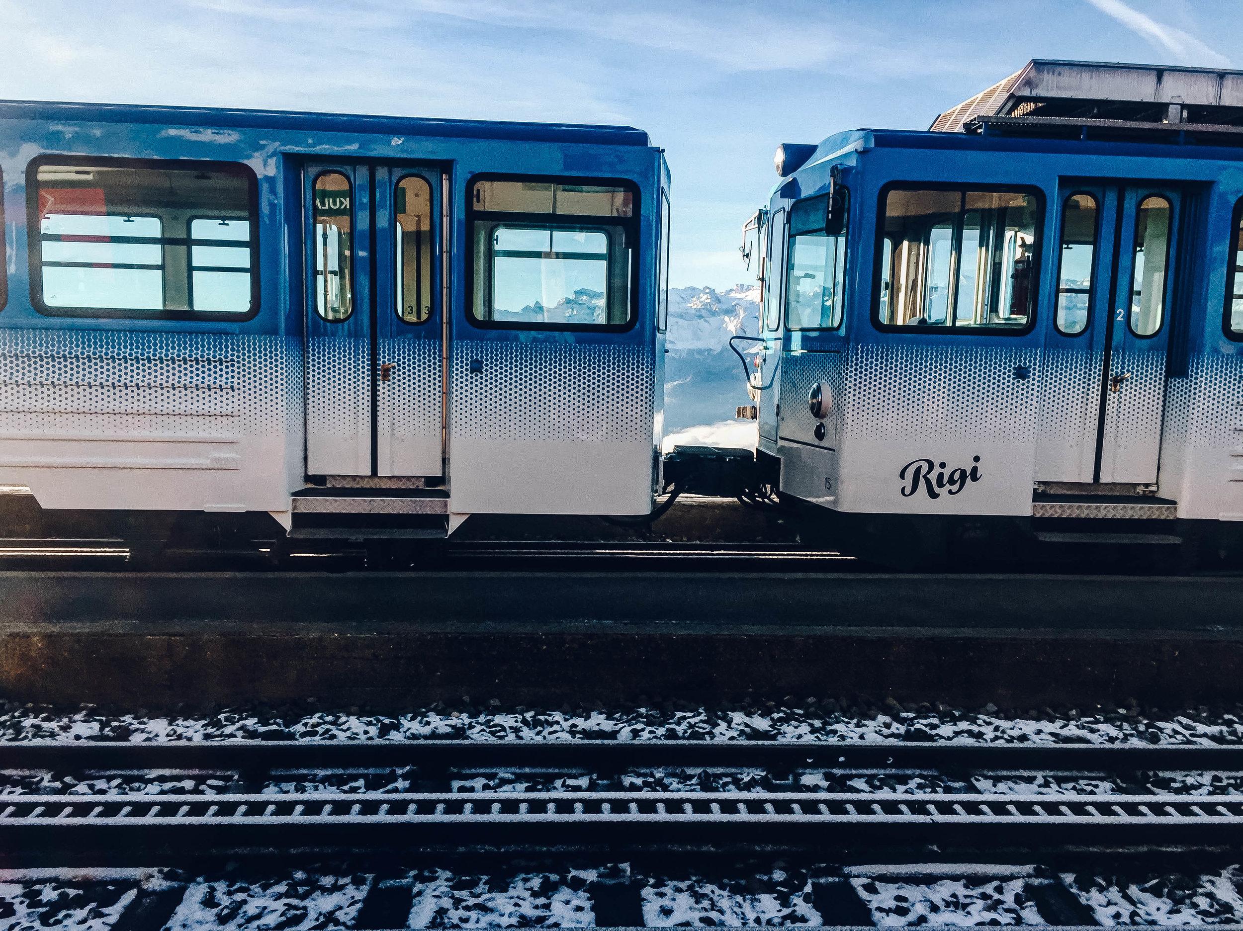 Rigi Bahn on Rigi Kulm in Switzerland
