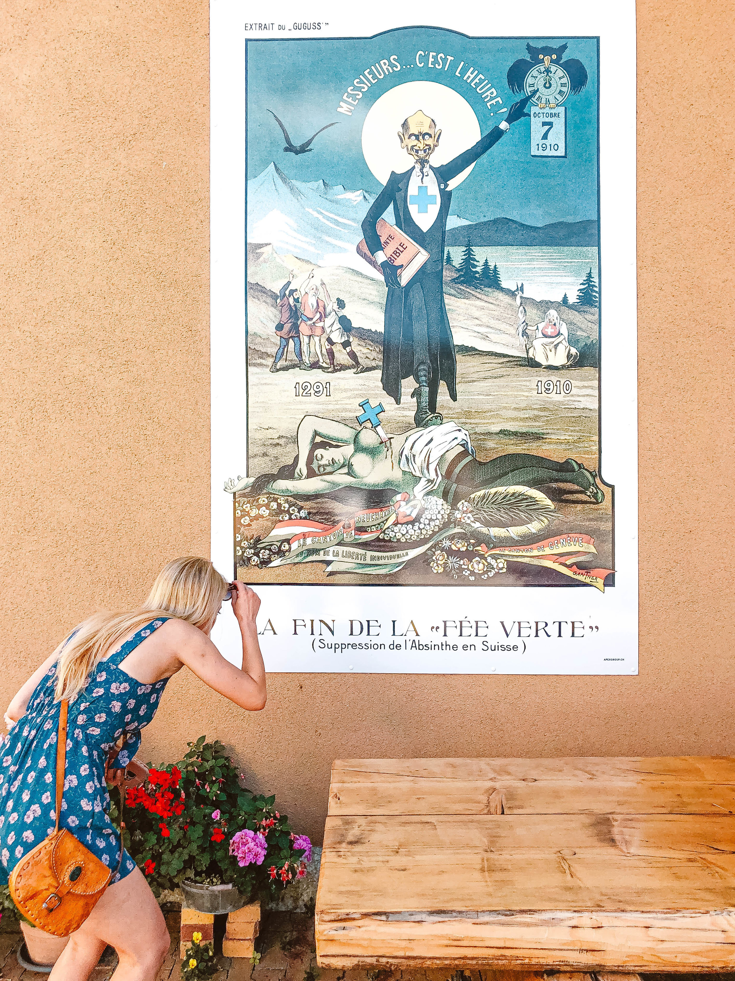 Poster banning absinthe that was printed in the newspaper, Môtiers, Switzerland