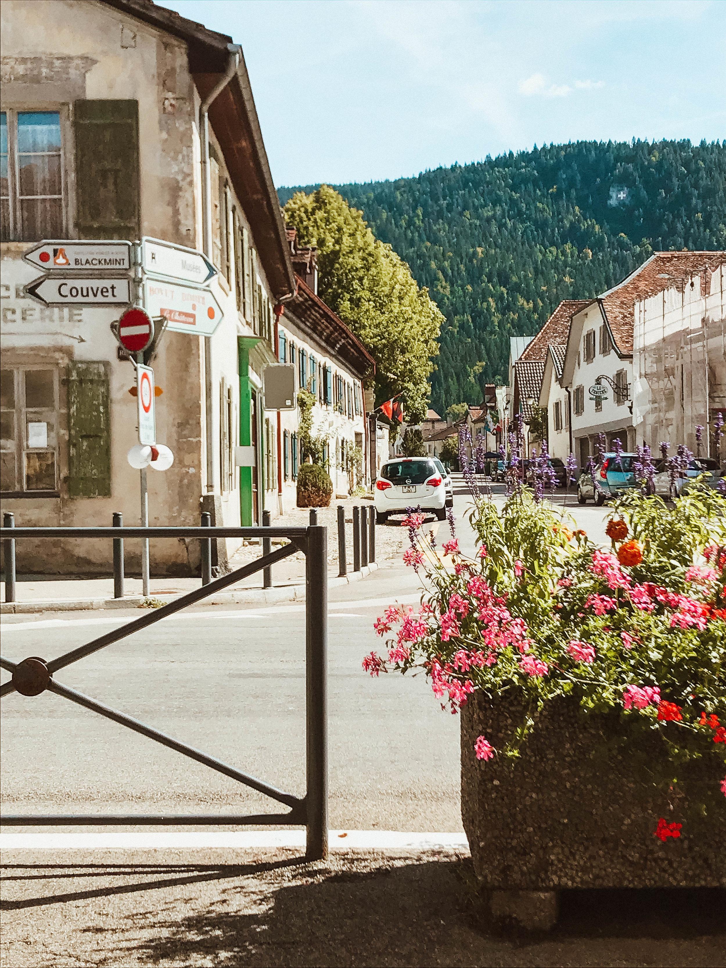 Main street in Motiers, Switzerland