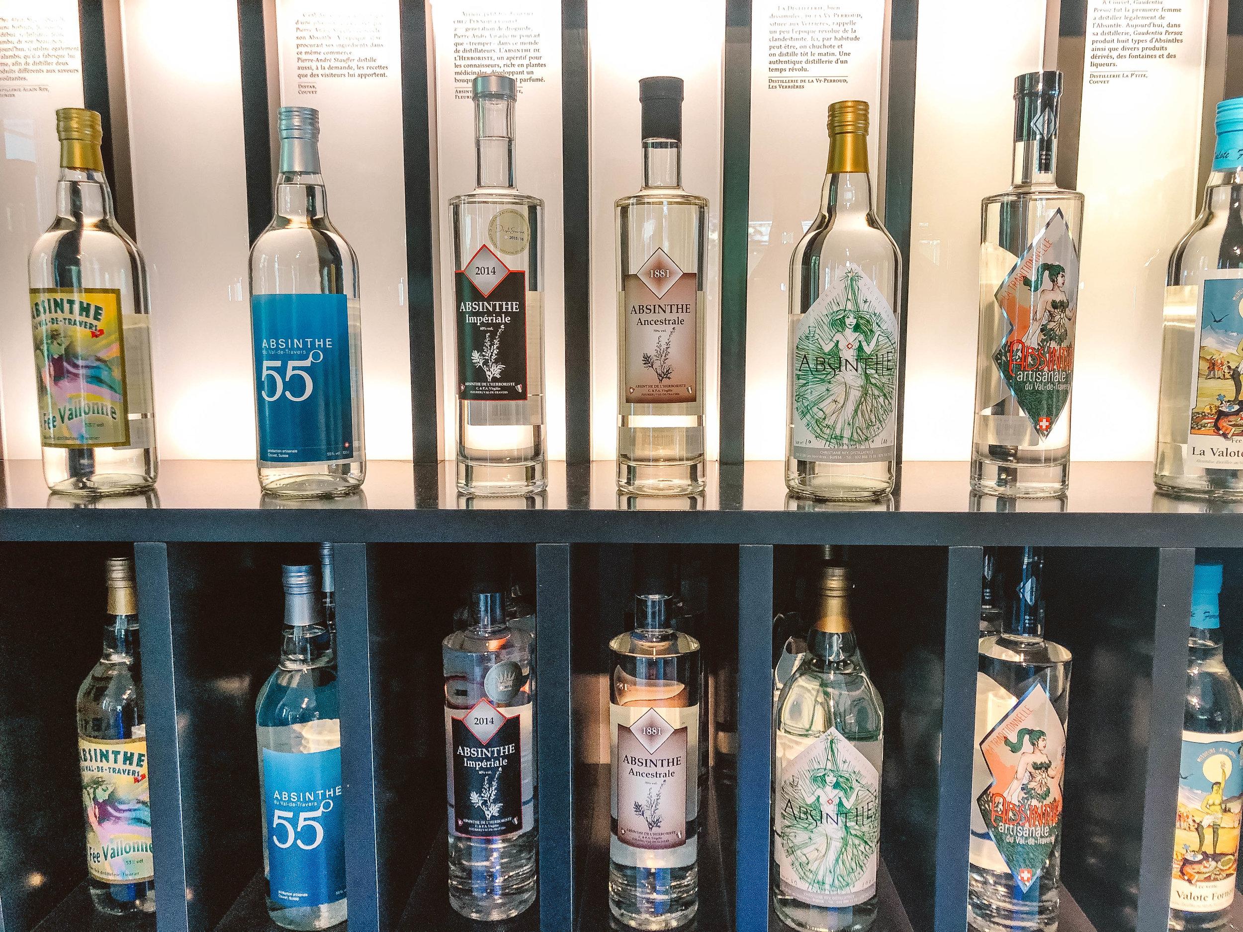 Bottles of absinthe at Maison de l'Absinthe.jpg