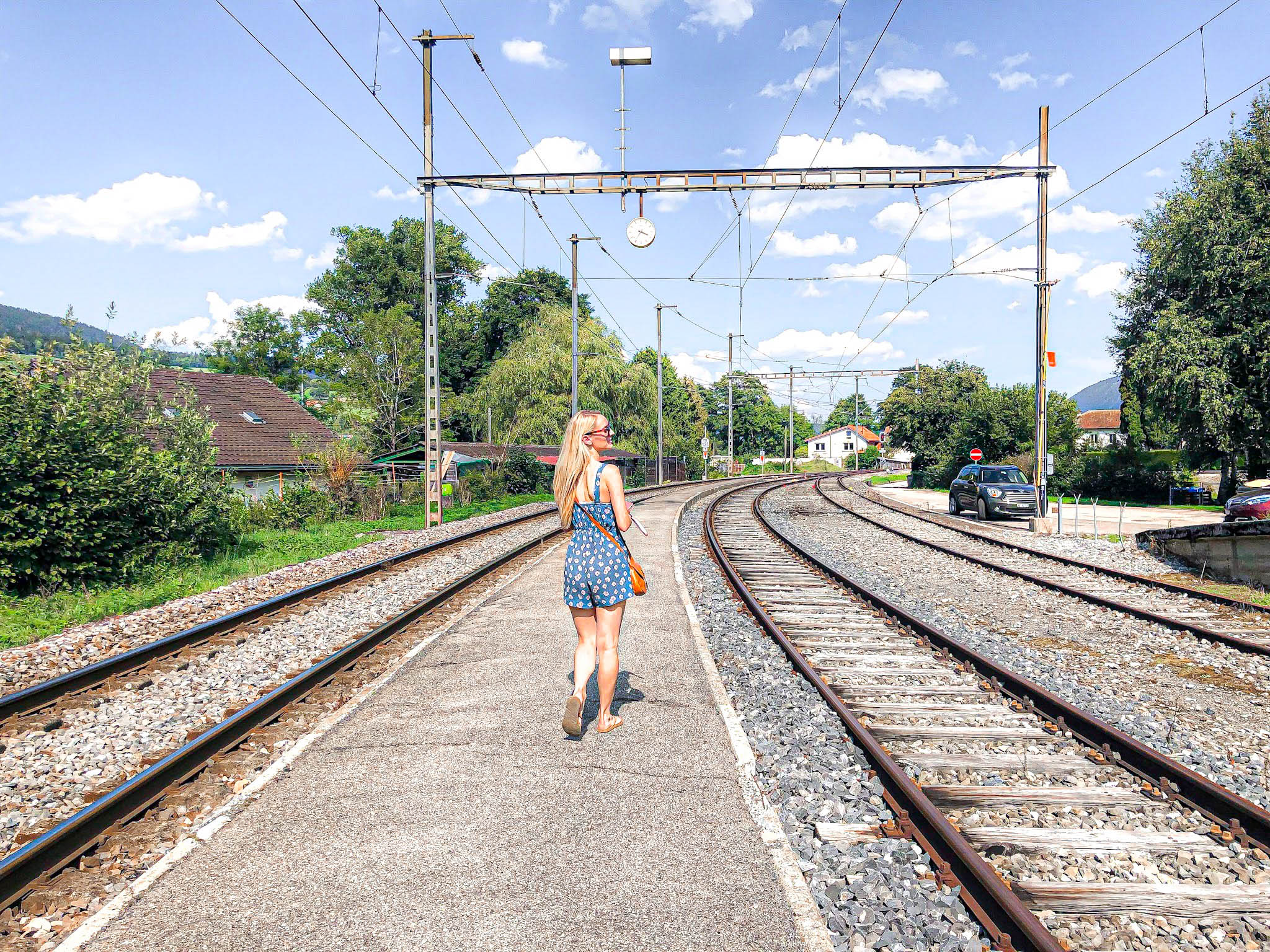 Train station in Motiers, Switzerland