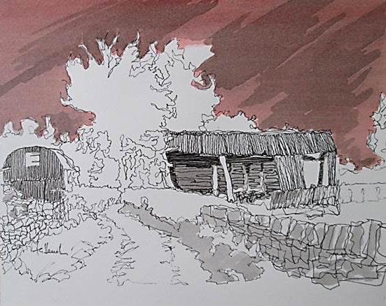 Geoff Hewitt - Old Barn (Red Sky Series)
