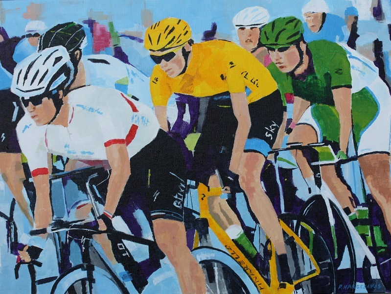 Pedal Power - Celebration of the first Tour de Yorkshire Cycle Race. Features paintings, sculpture, and original prints.