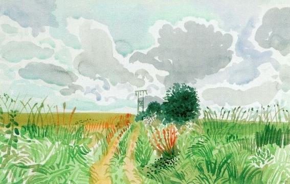 David Hockney - Cart, Track and Pylon