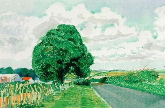 David Hockney - Road and Tree near Wetwang