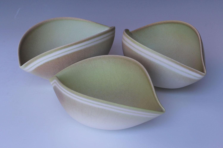 Jenny Morten - 3 Twisting Bowls (Yellow)