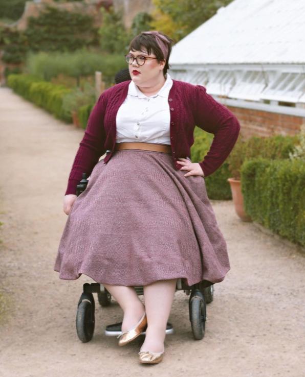 Sally wearing her bespoke skirt from Rose's Wardrobe