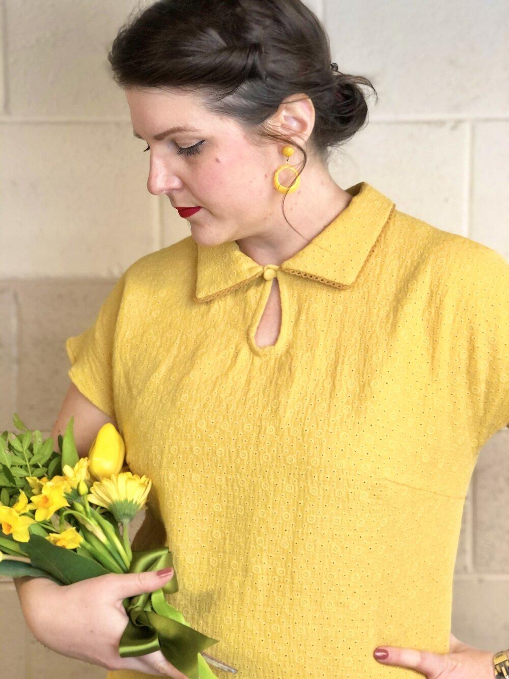Rose's Wardrobe's Emma wearing the 'Jean' blouse in Mustard
