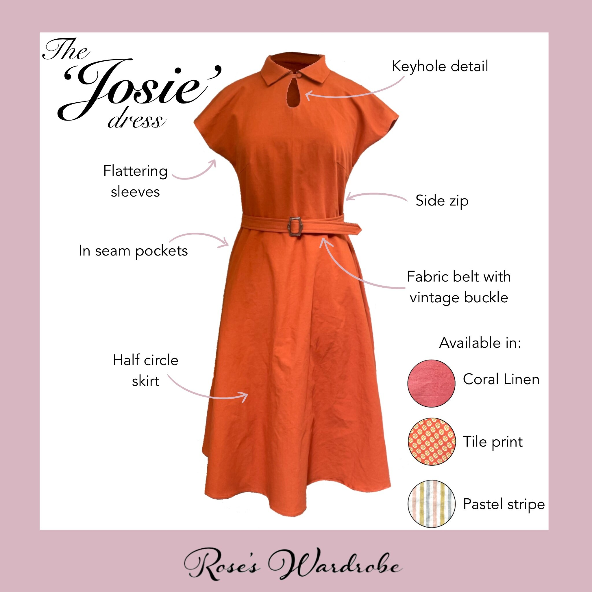 The details of the 'Josie' dress
