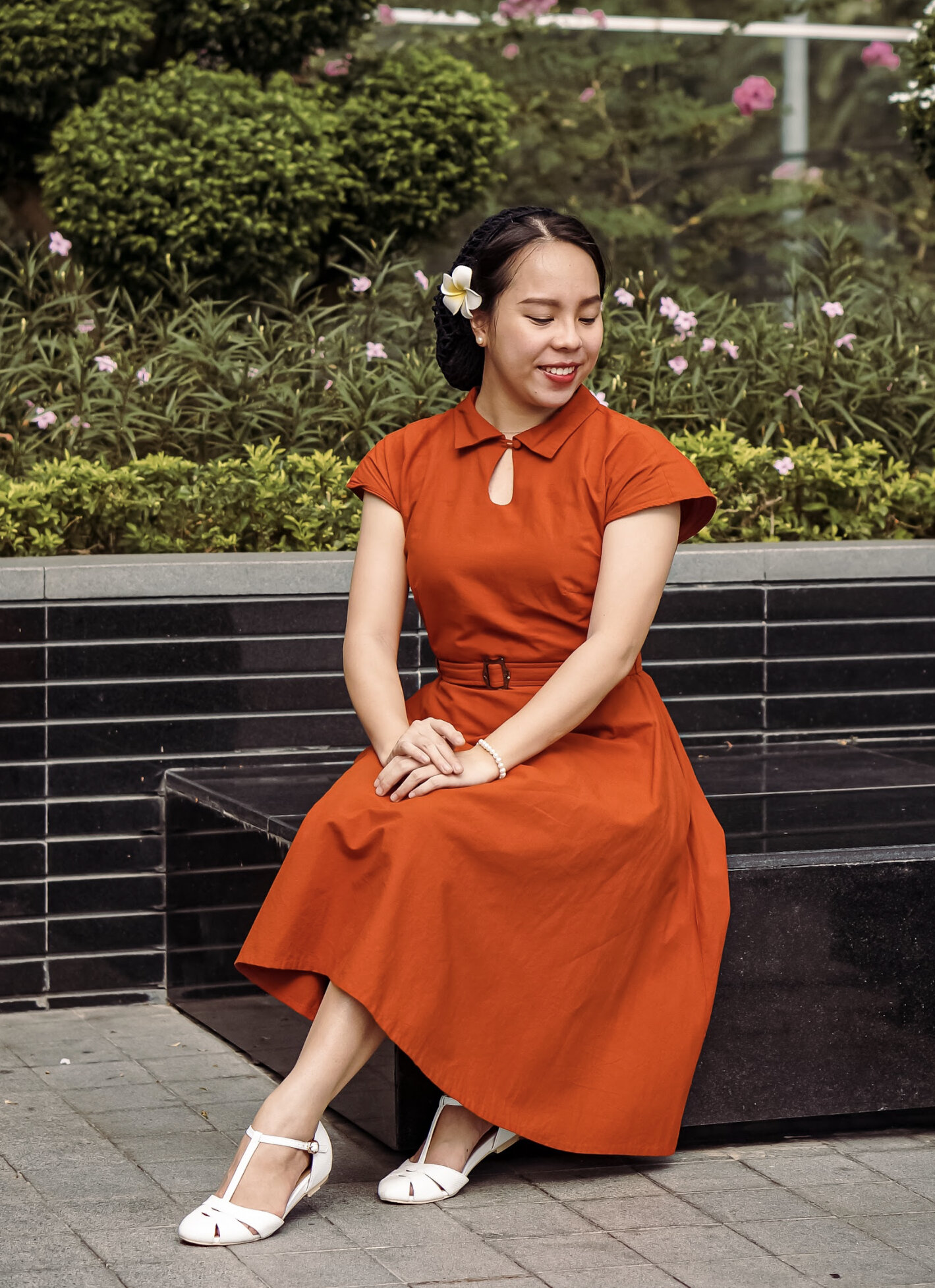 Lizzy wearing her gifted 'Josie' dress with Charlie Stone shoes